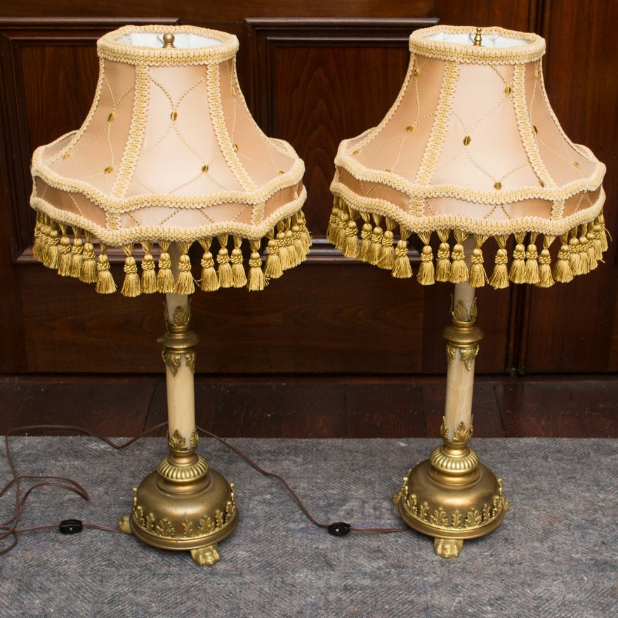 Antique victorian table lamps with pink satin shade and brass lion antique victorian table lamps with pink satin shade and brass lion feet aloadofball Image collections