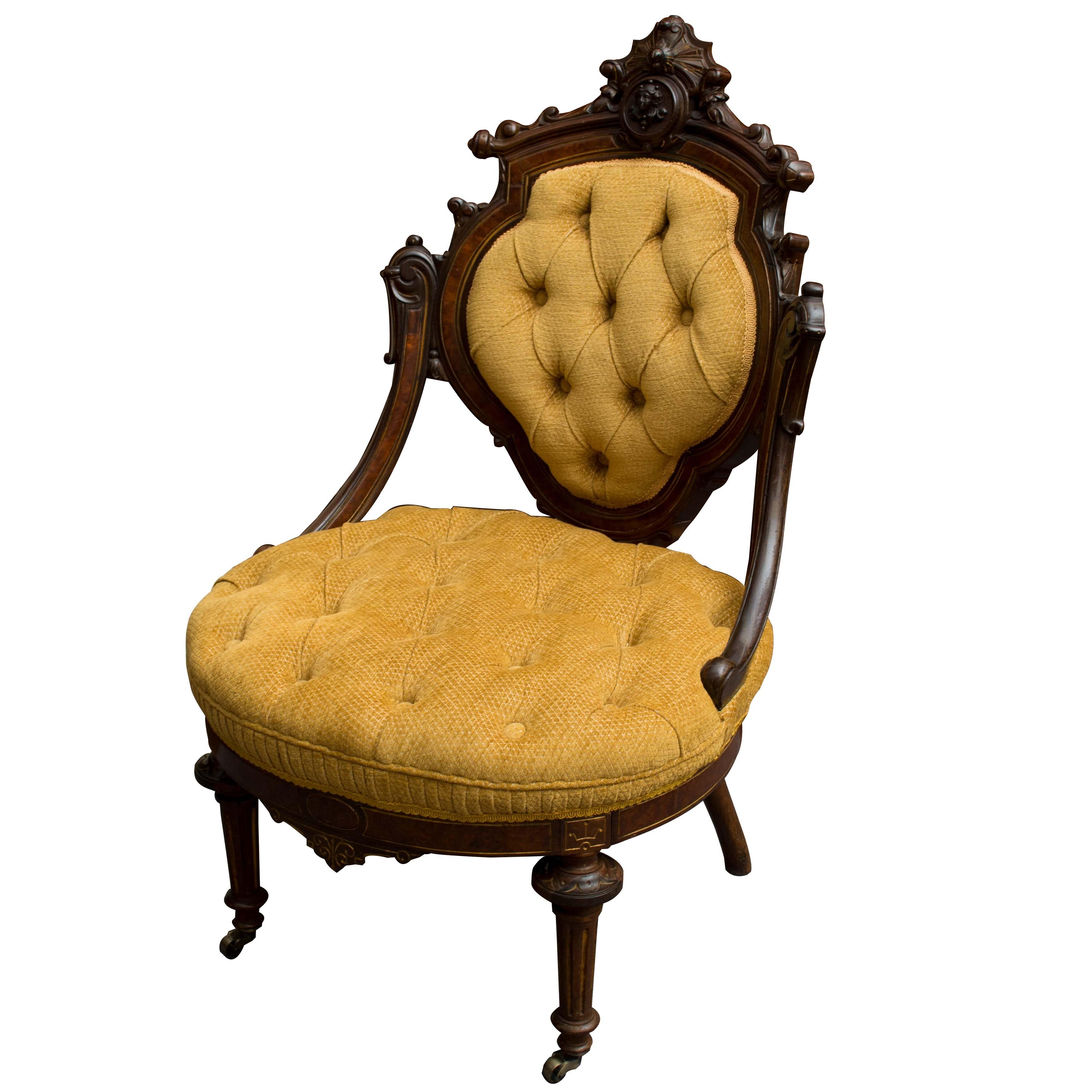 Antique American Rococo Revival Mahogany Armchair