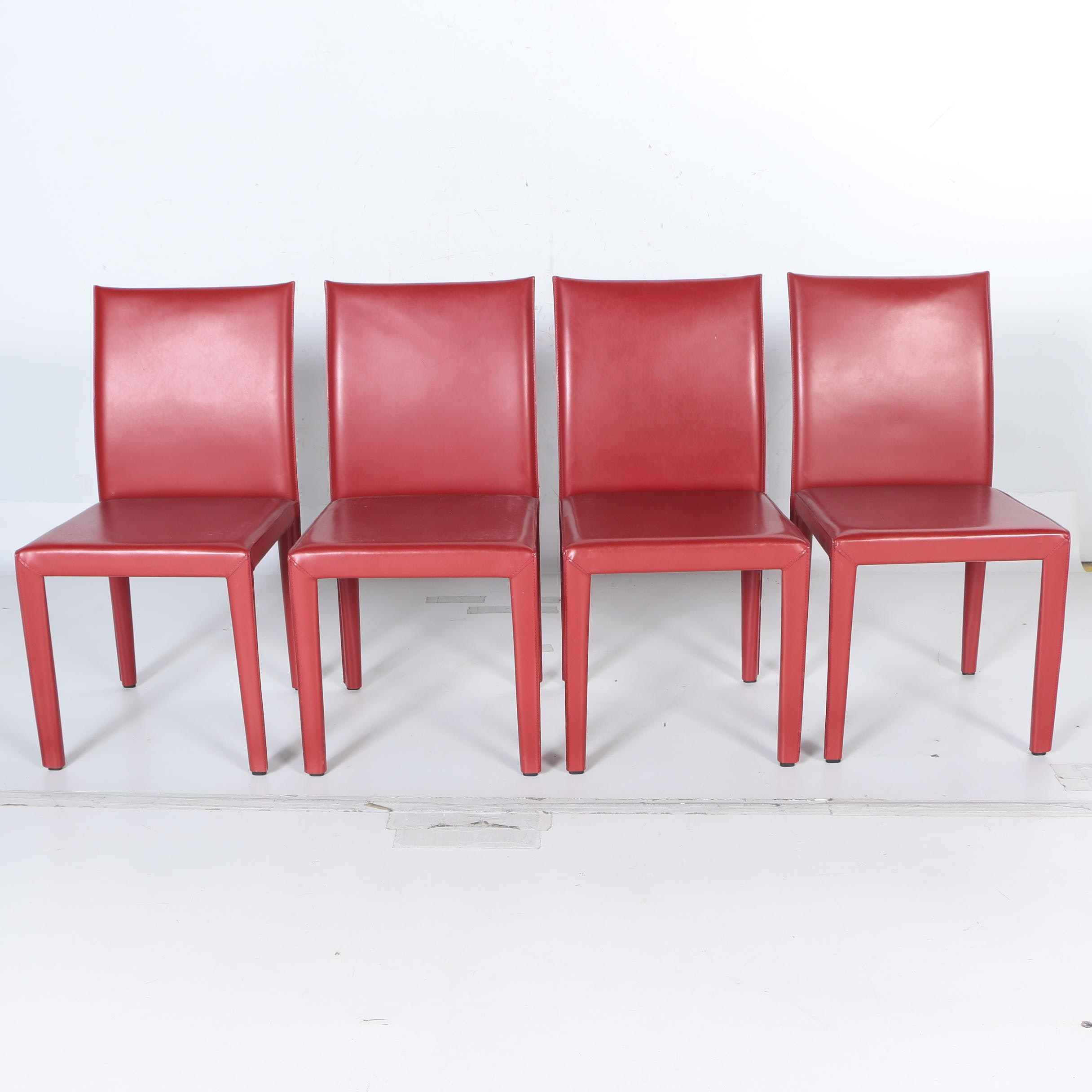 "Red Leather ""Mondo"" Chairs by Maria Yee"