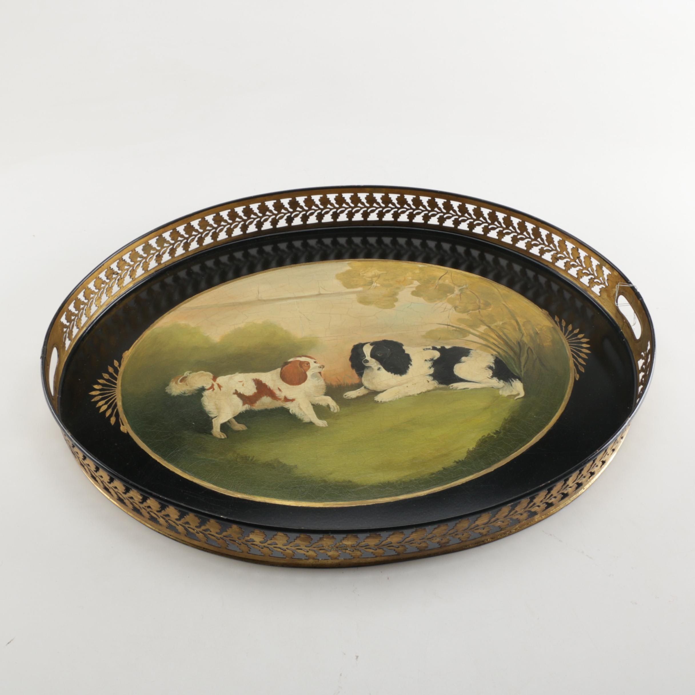 Vintage Hand-Painted Cavalier King Charles Spaniel Oval Serving Tray