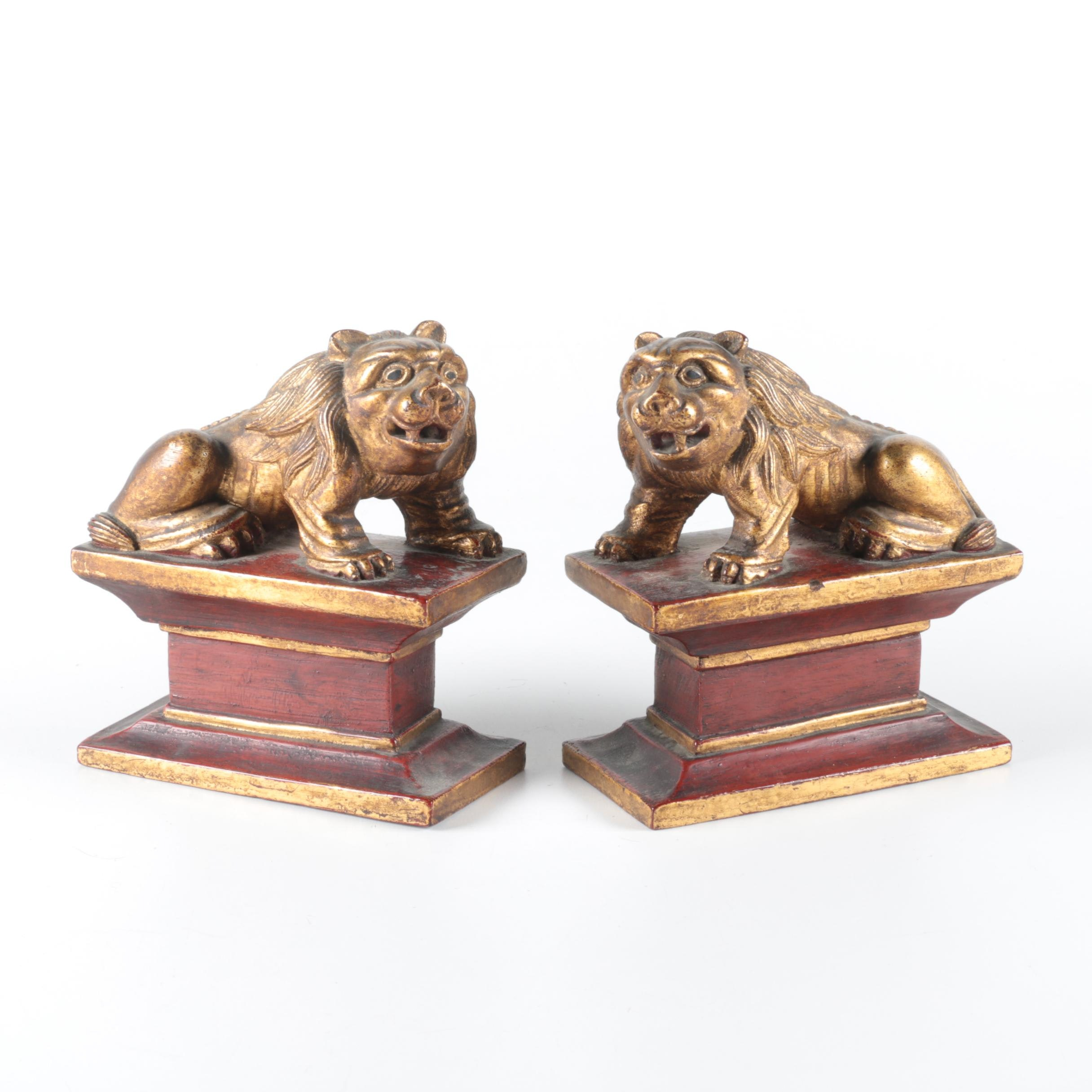 Early 20th-Century Chinese Carved Wooden Lion Bookends