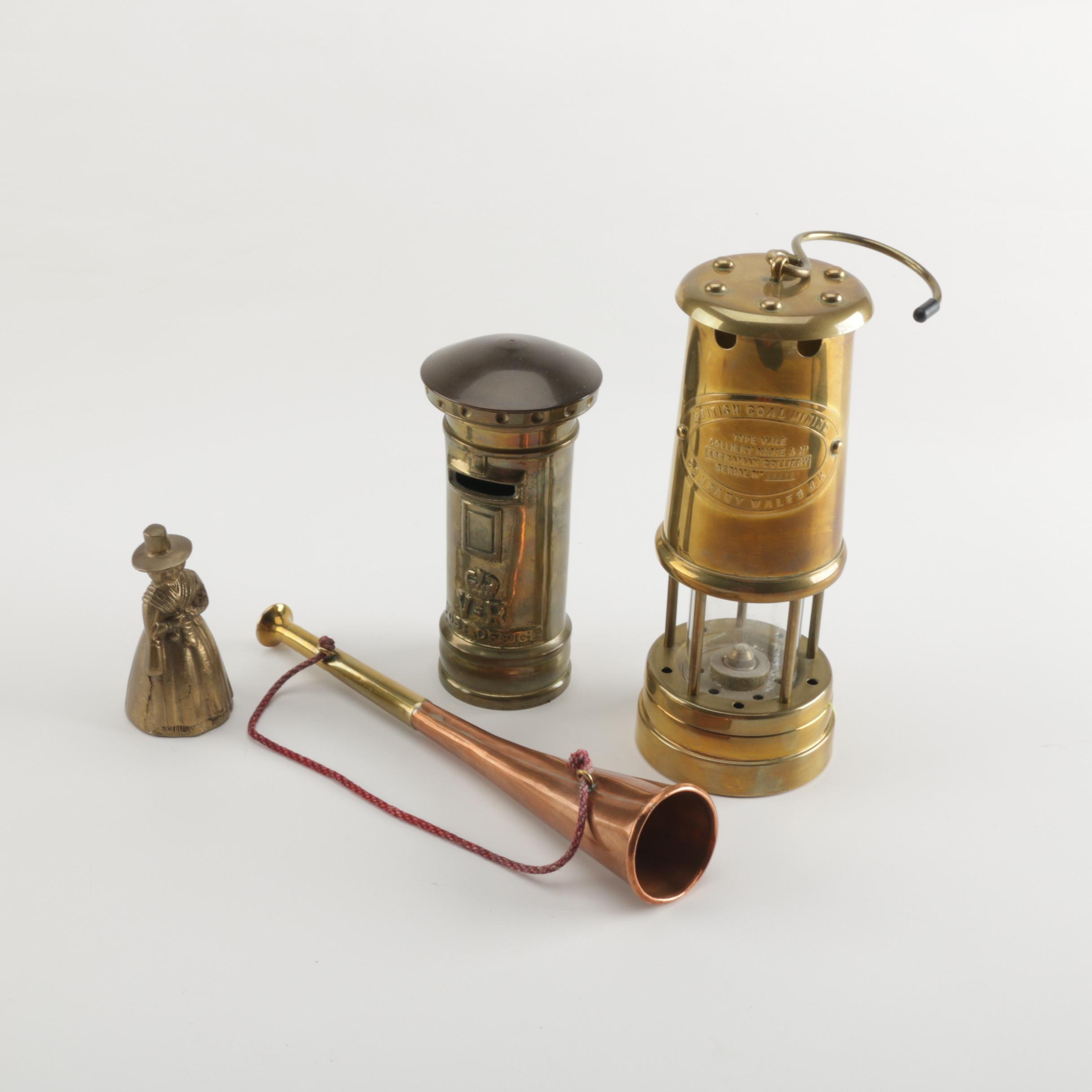 English Hunting Horn and Other Copper and Brass Decorative Items