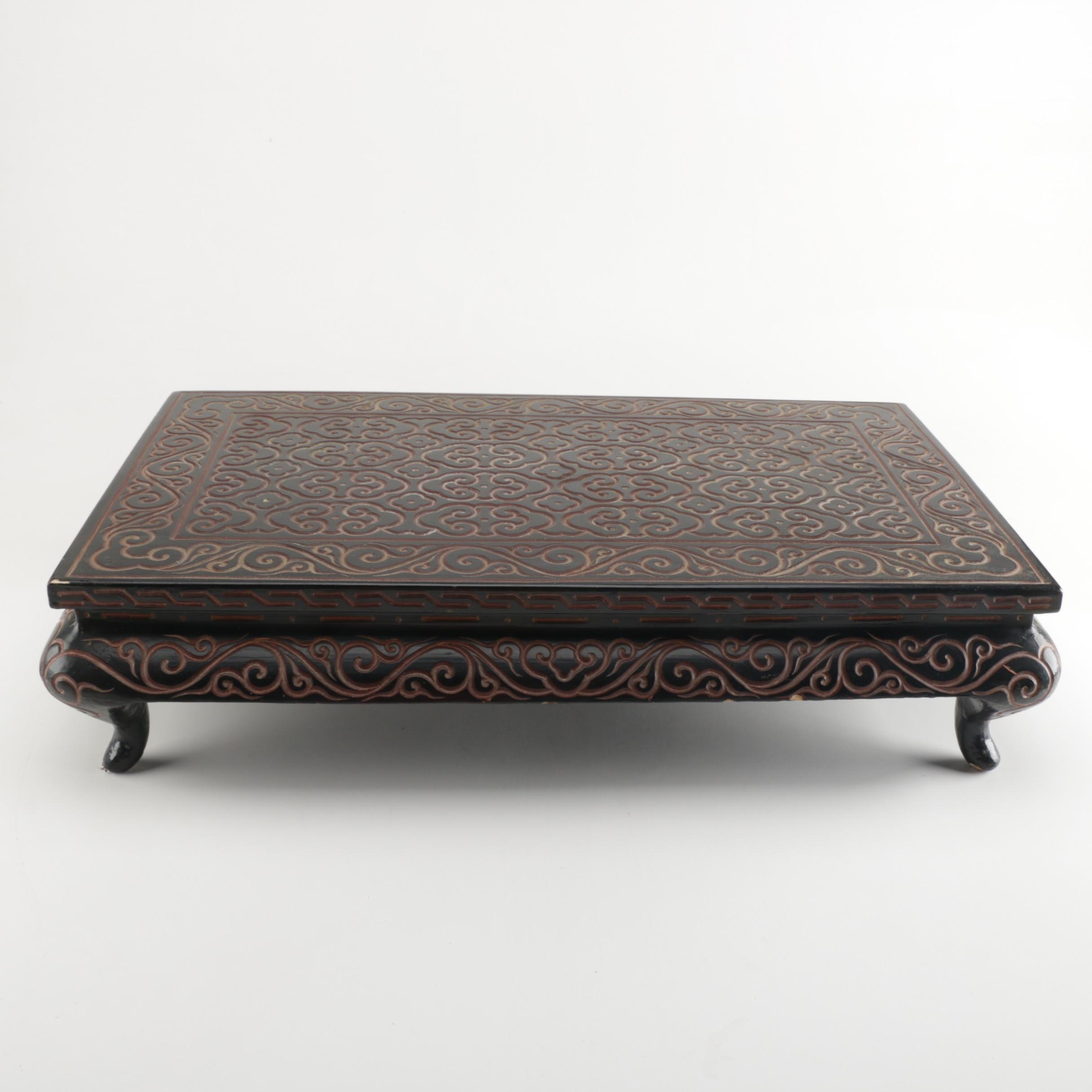 Chinese Tixi Black and Red Carved Lacquer Low Table