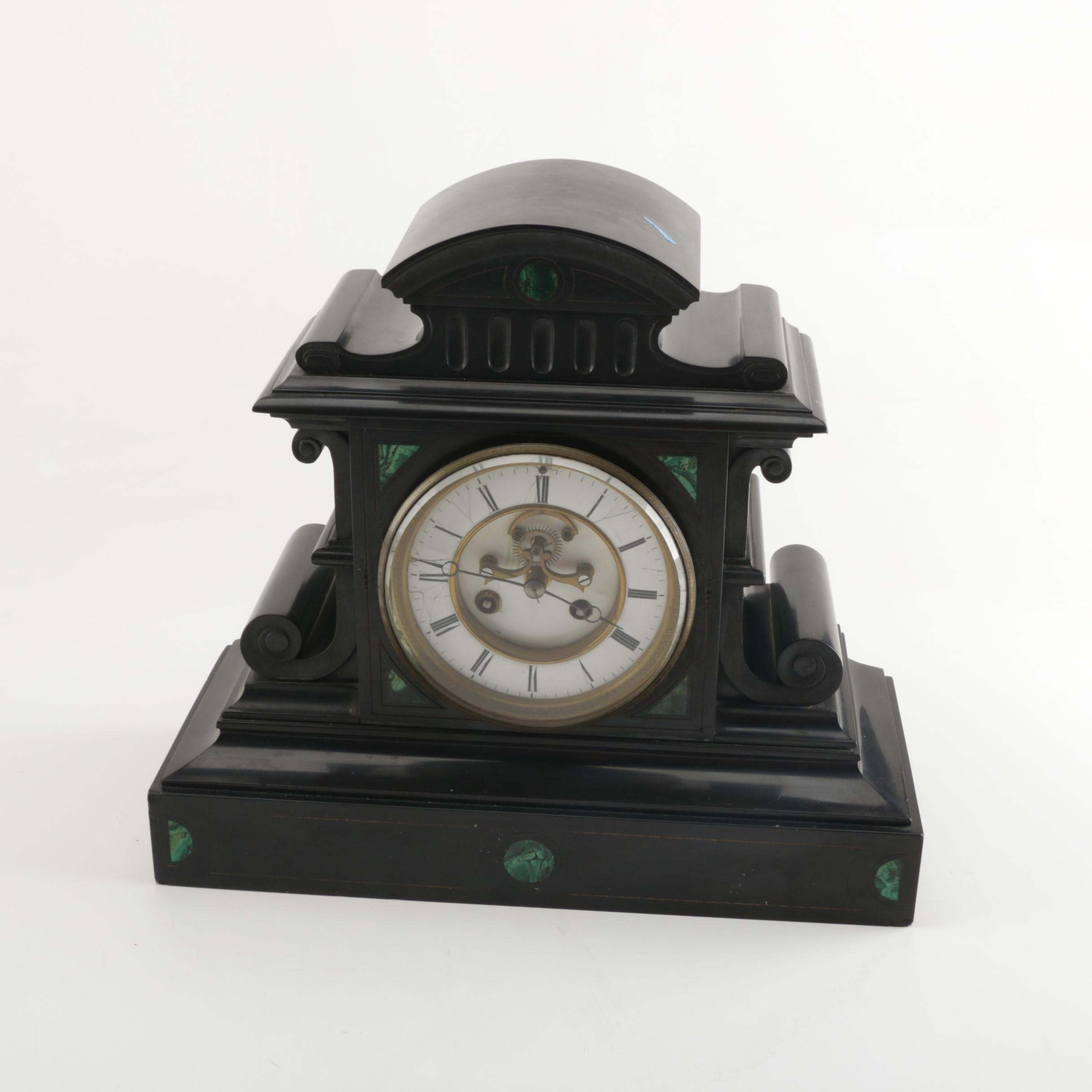 Mid to Late 19th-Century French Samuel Marti et Cie Black Slate Mantel Clock