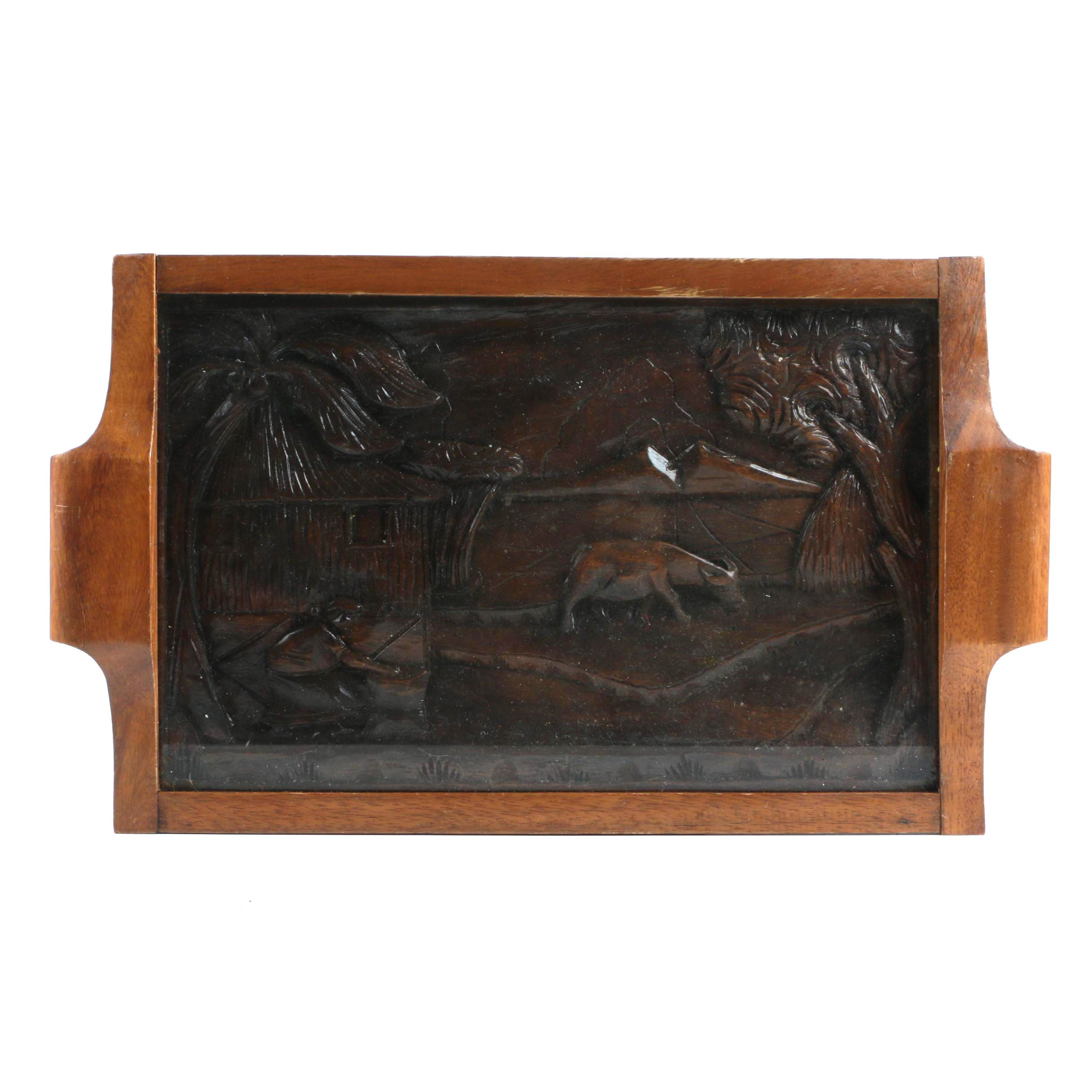 Asian Inspired Handled Wooden Tray with Carved Scene