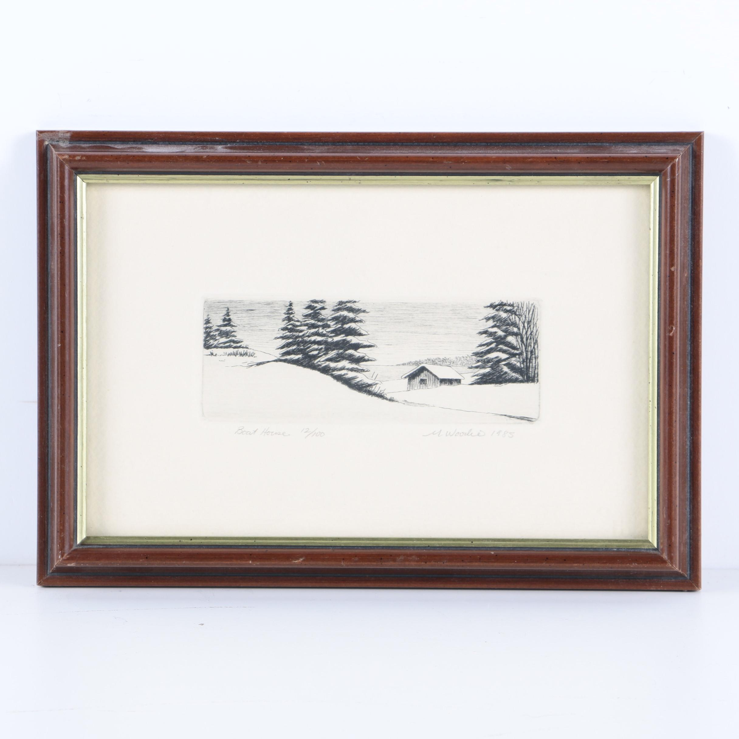 """M. Woodie Limited Edition Etching """"Boat House"""""""