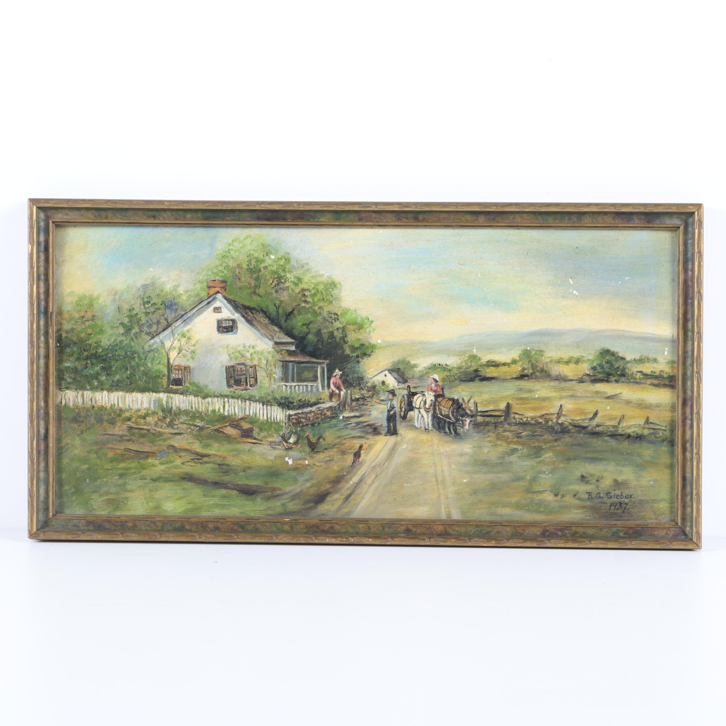 1937 R.G. Siebex Oil Painting of a Farm Scene