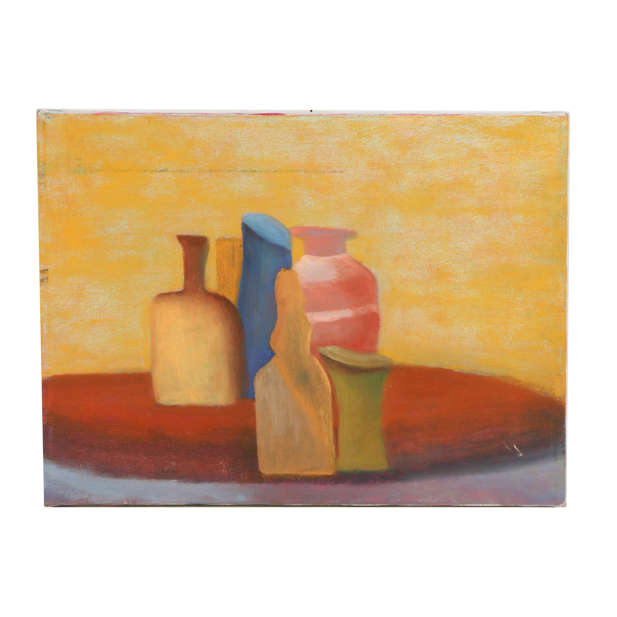 Wendy Lax Oil Painting on Canvas of a Still Life of Bottles