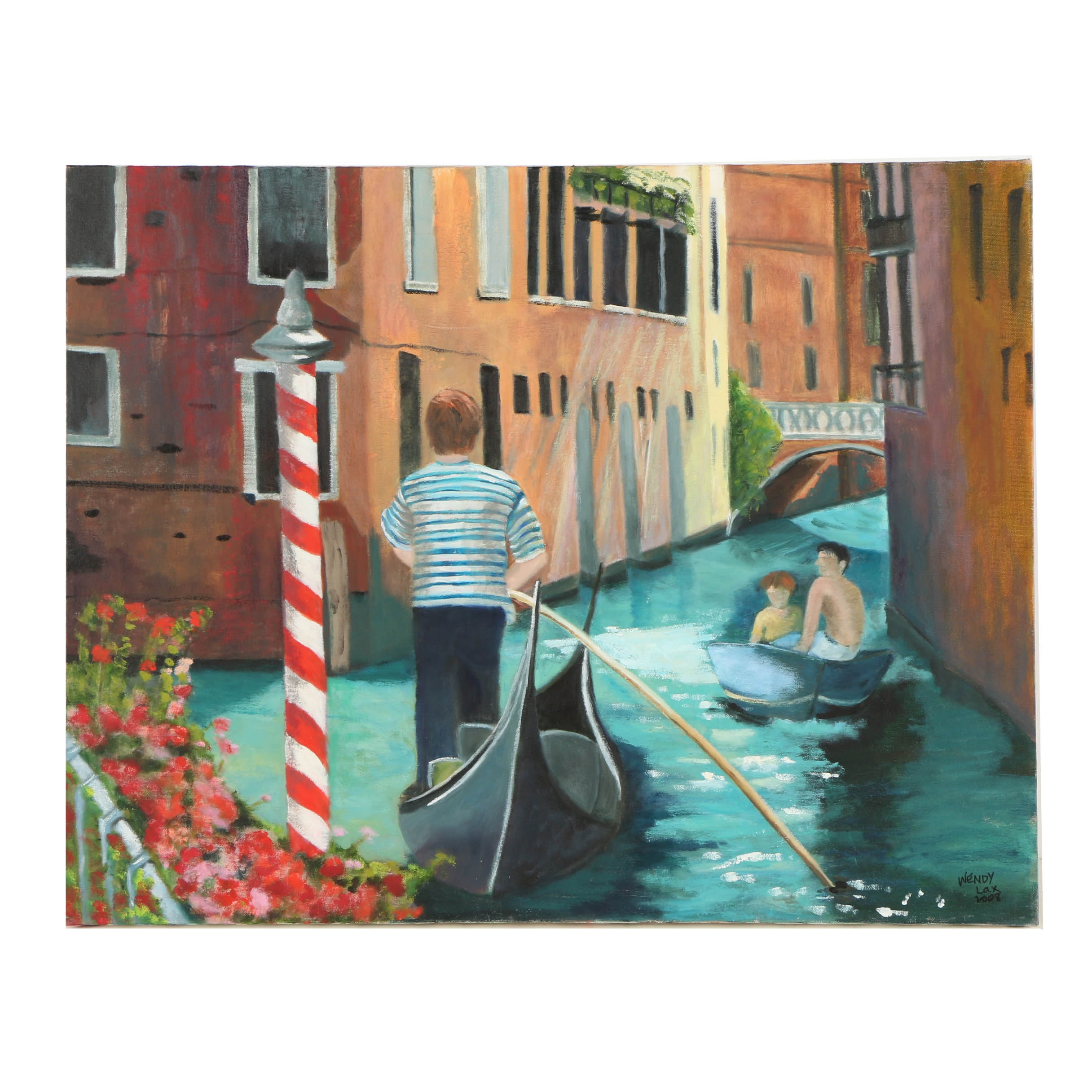 Wendy Lax Oil Painting on Canvas of Venetian Canal
