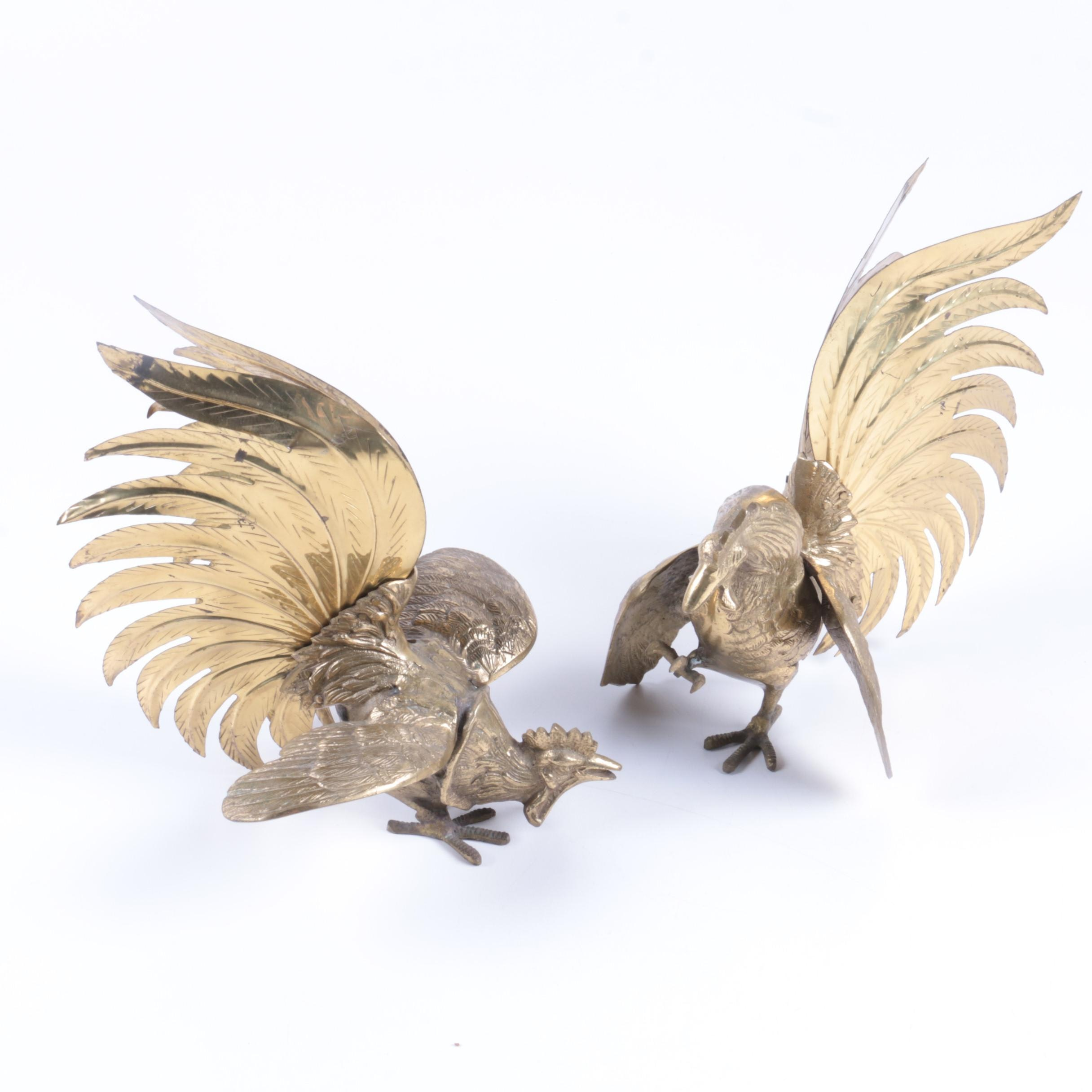 Brass Fighting Cock Figurines