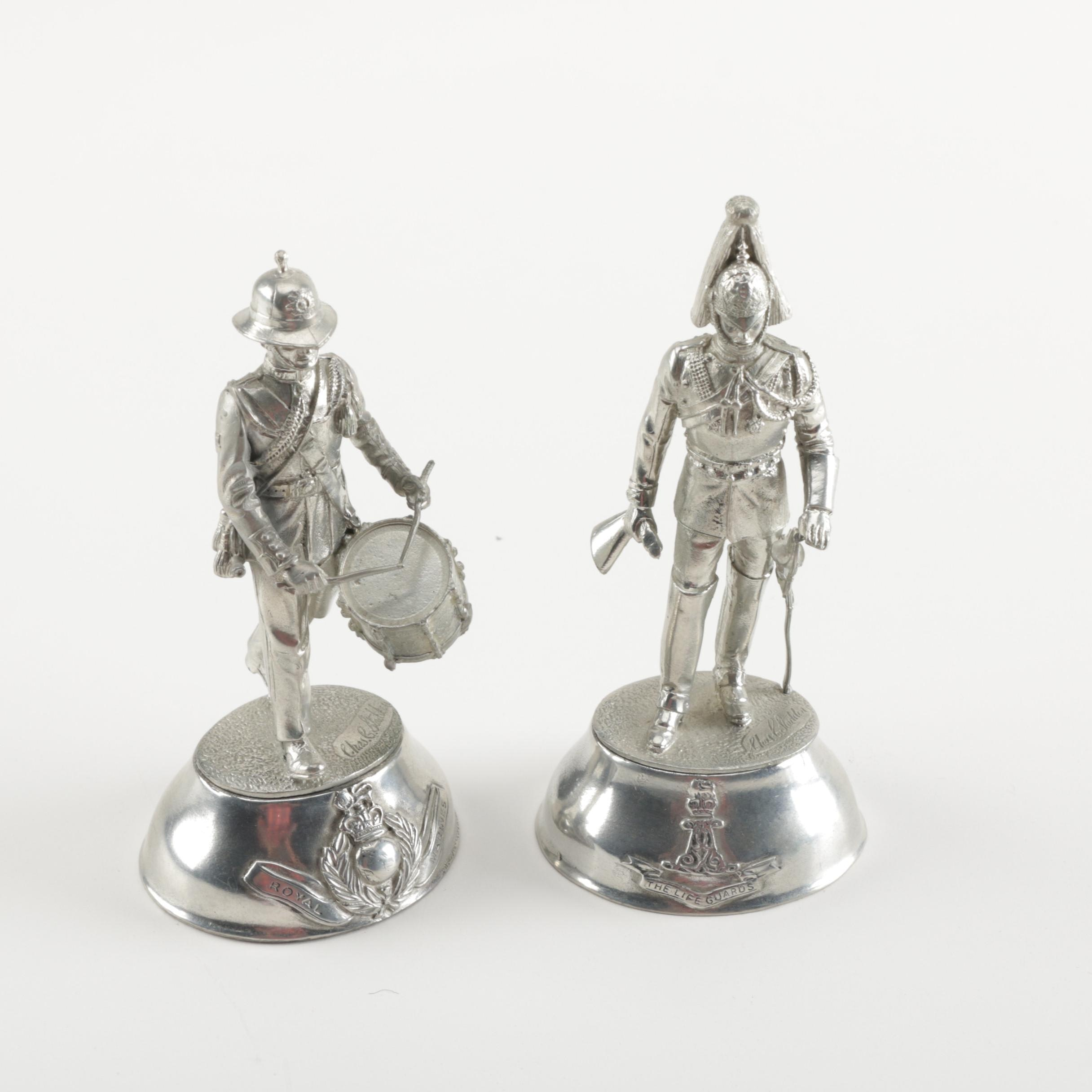 Pair of Pewter Soldier Figurines