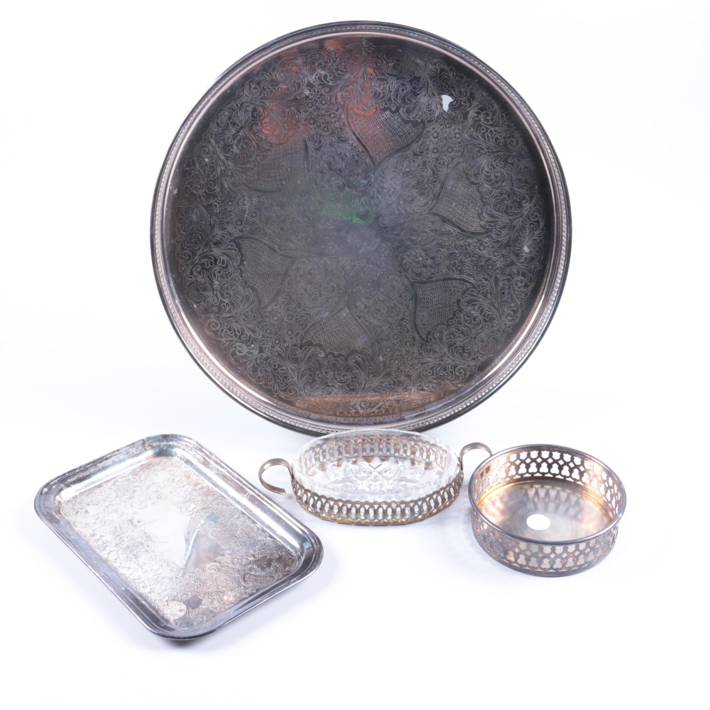 Silver Plate and Silver Tone Serveware Featuring Italian Silver Plate Platter