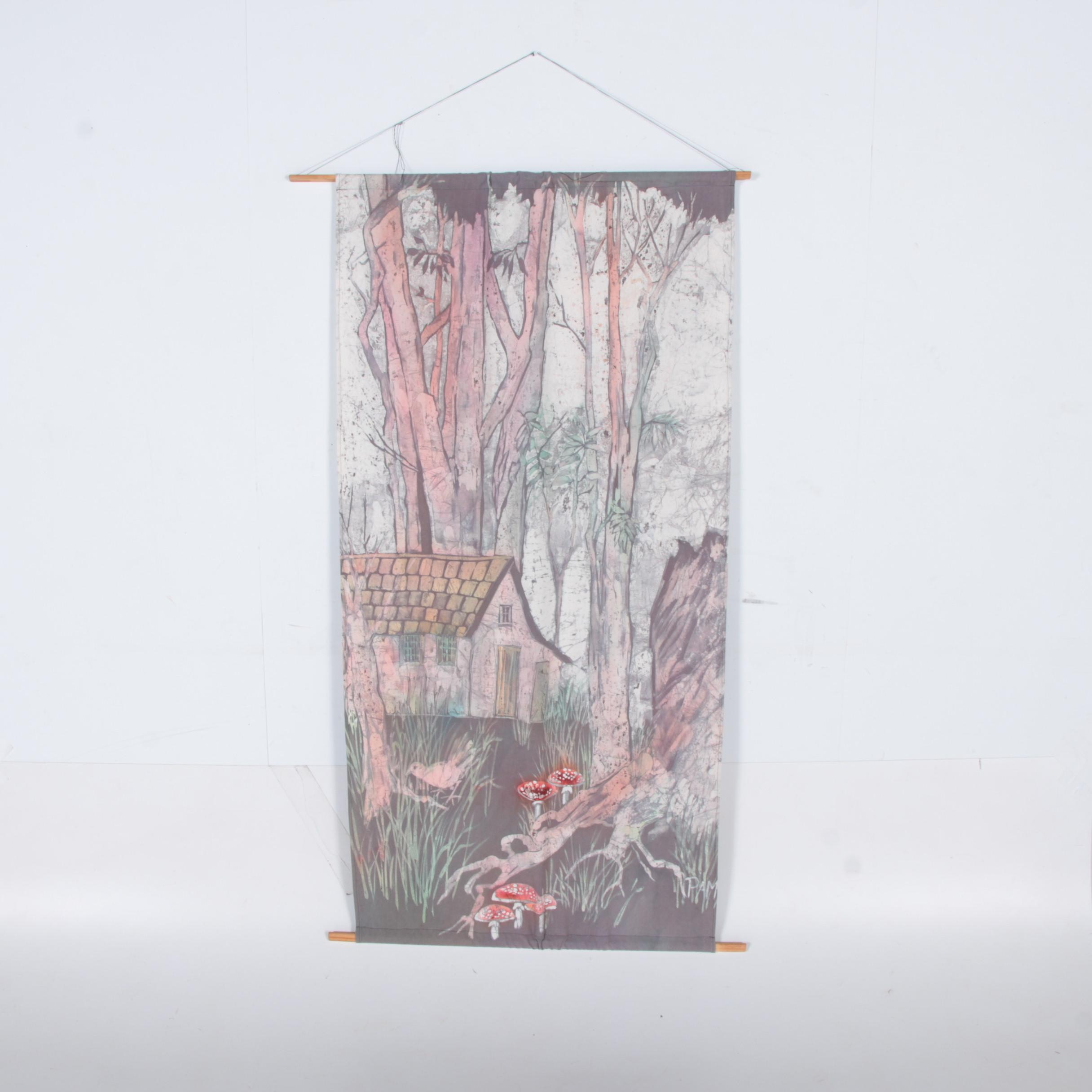 Hand Painted Batik Wall Hanging of Cottage in a Forest
