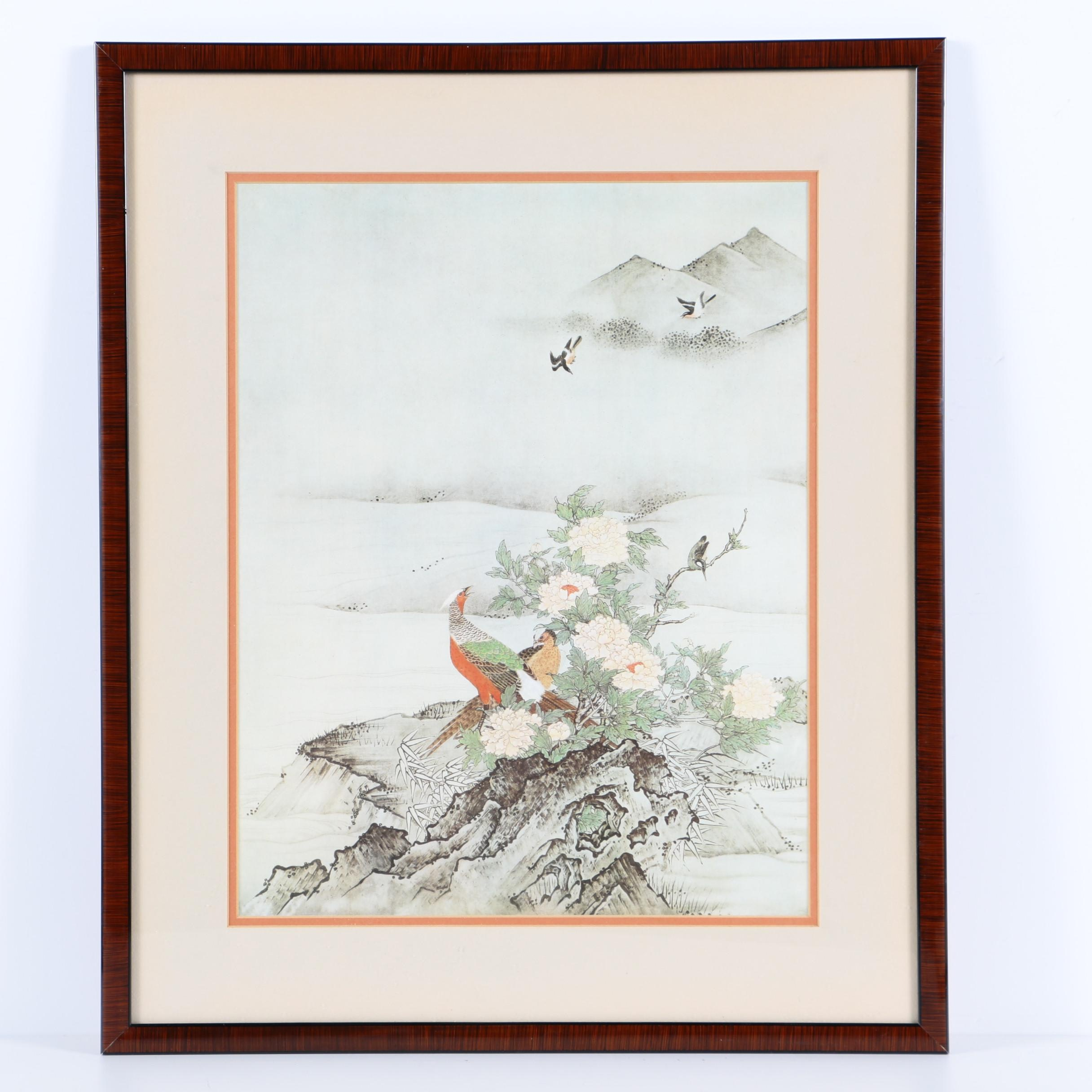 East Asian Style Offset Lithograph on Paper of Birds and Flowers