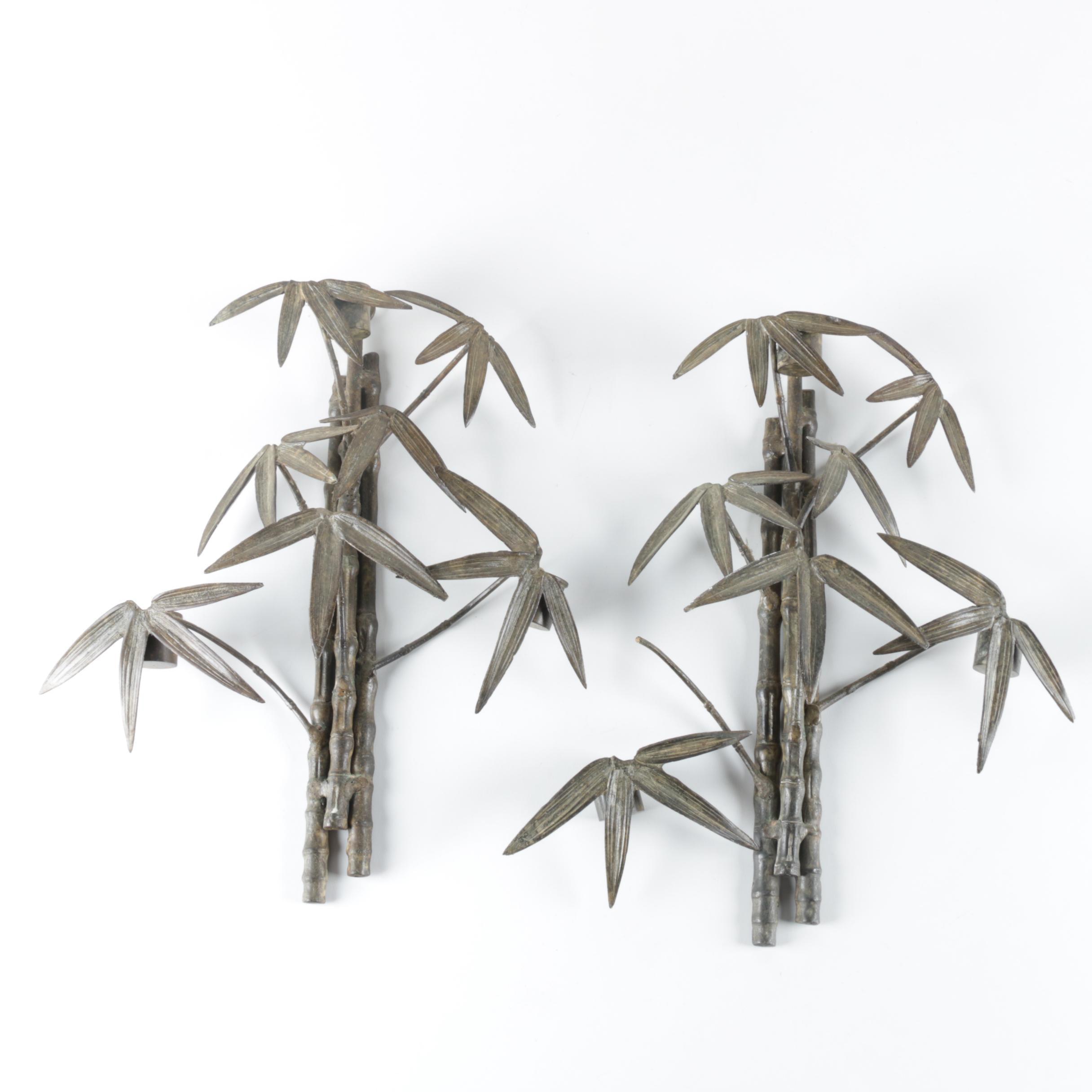 Pair of Metal Bamboo Motif Wall Mounted Candleholders