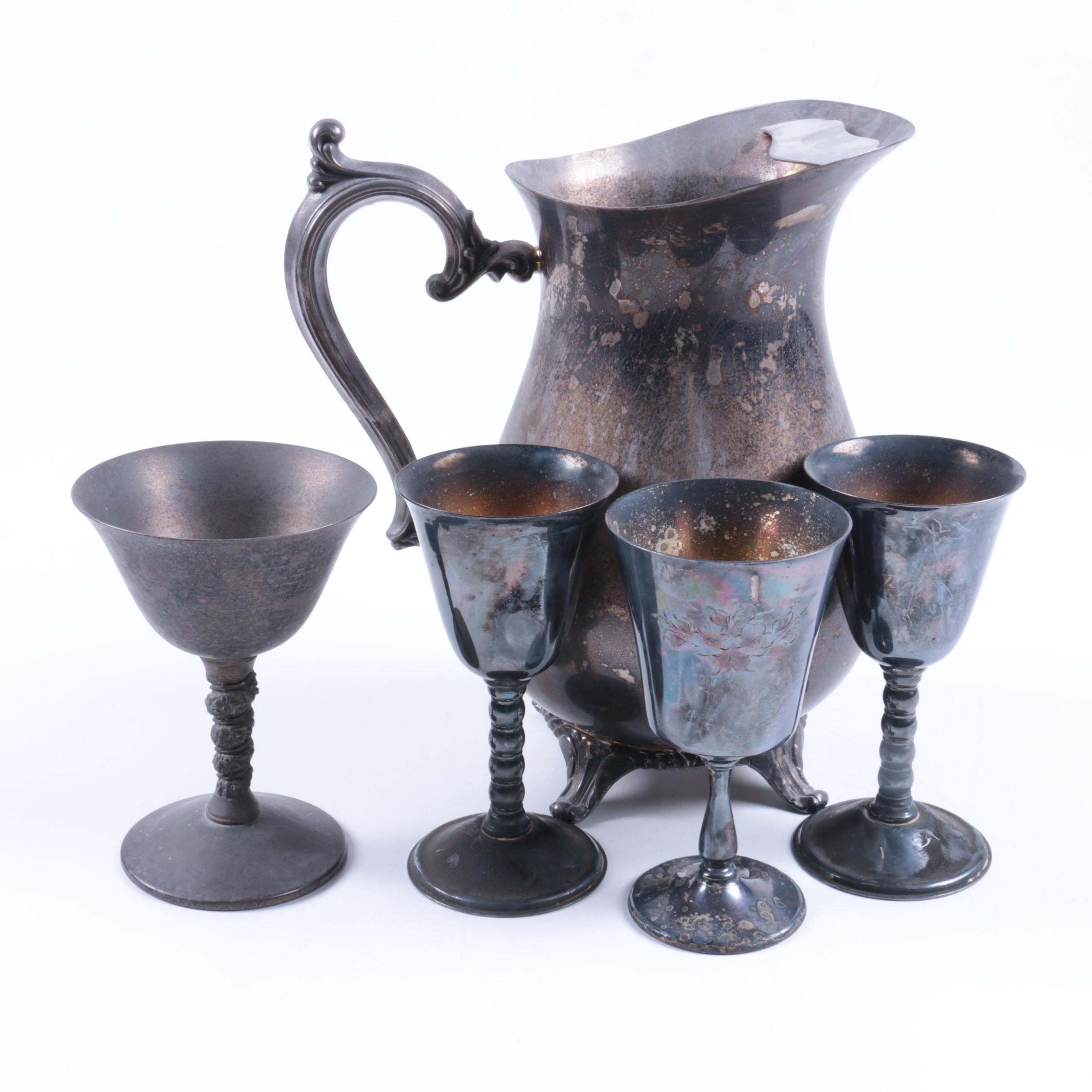 Wm Rogers Mfg. Co. Silver-Plated Pitcher with Hejl Denmark and Other Goblets