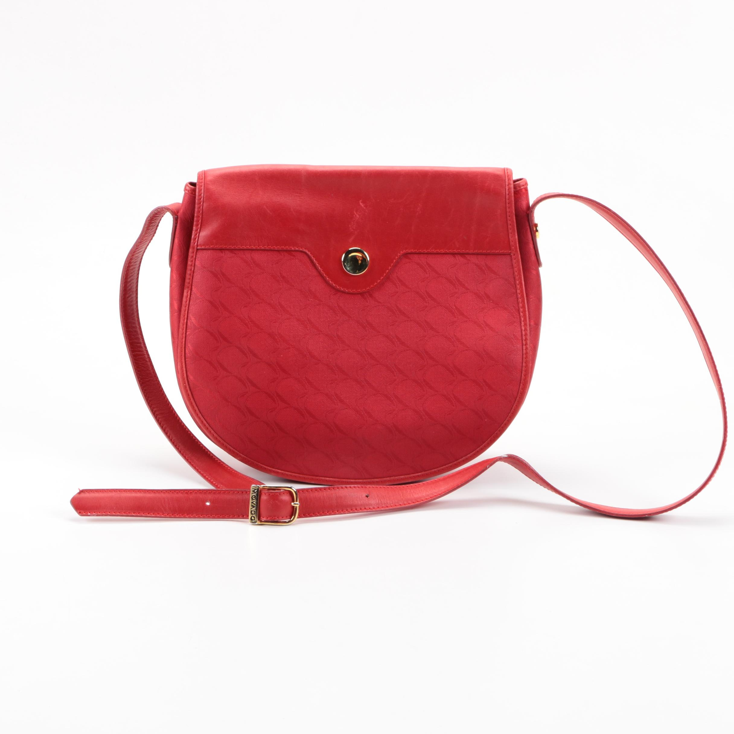 Movado Red Leather and Canvas Crossbody Bag
