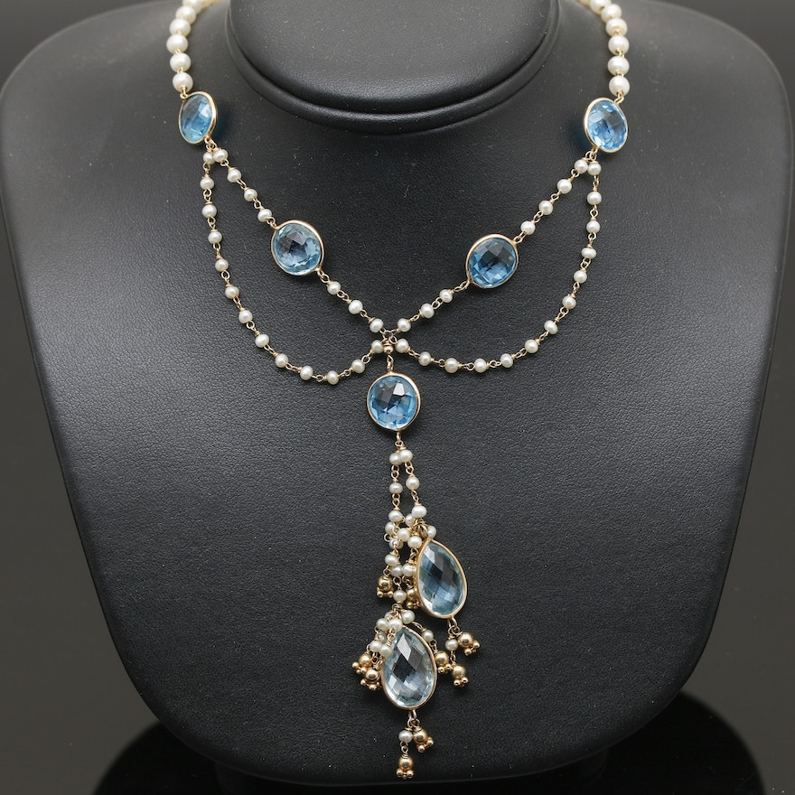 Blue Topaz And Pearl Necklace: 14K Yellow Gold Blue Topaz And Seed Pearl Festoon Necklace