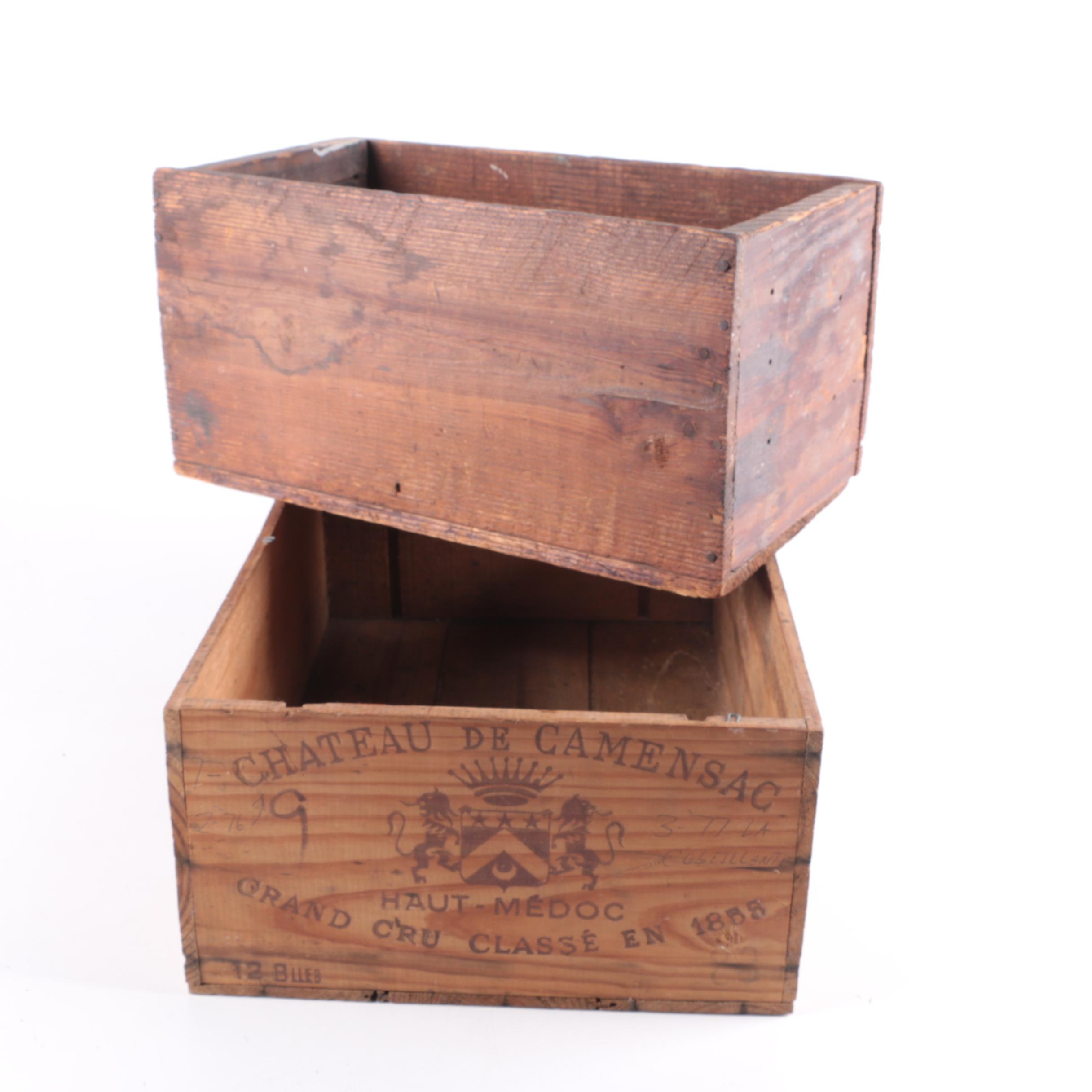 Pair of Vintage Wooden Boxes