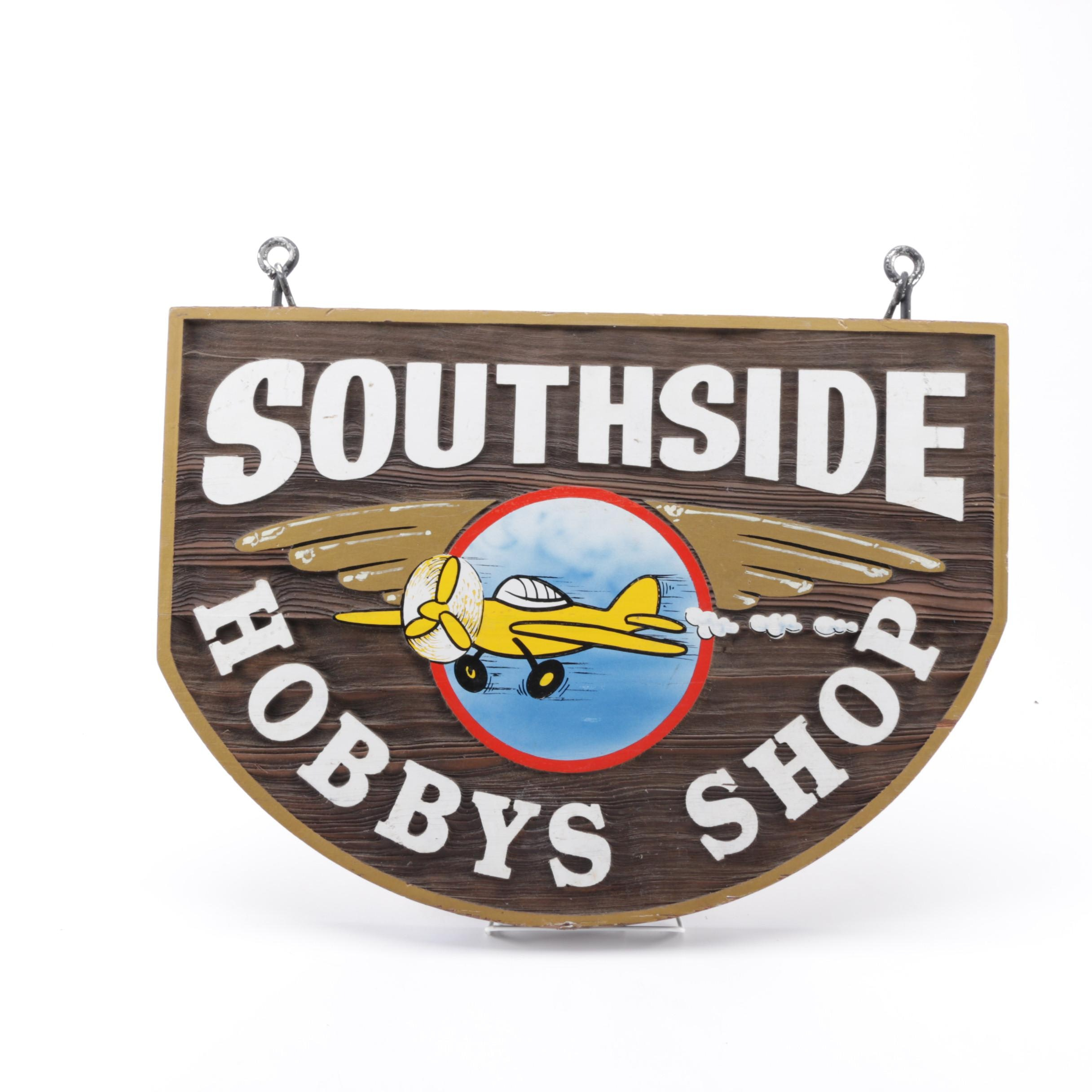 """Southside Hobbys Shop"" Double Sided Wooden Advertising Sign"
