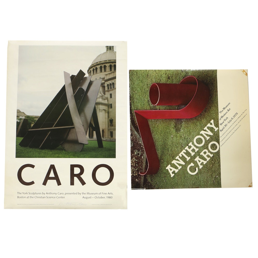 Pair of Offset Lithograph Museum Posters, including One Signed by Anthony Caro