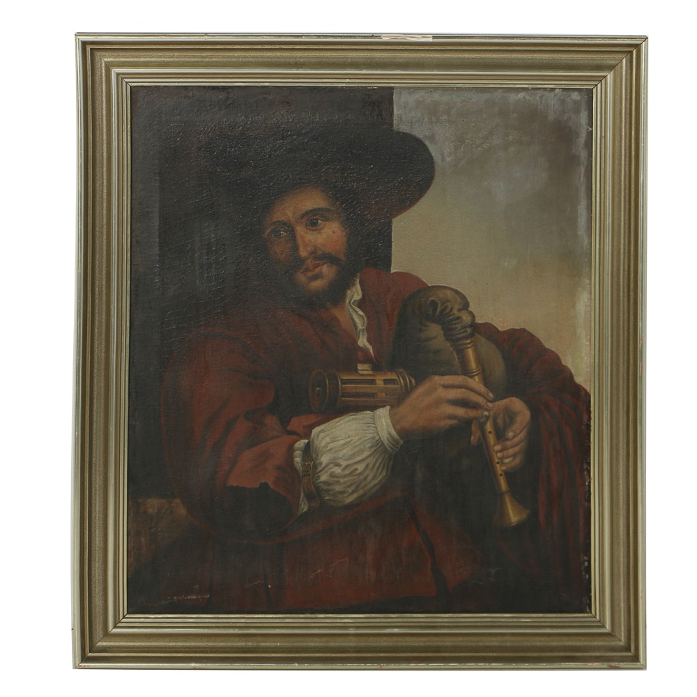 Hermann Bayer Oil Portrait on Canvas of Musician