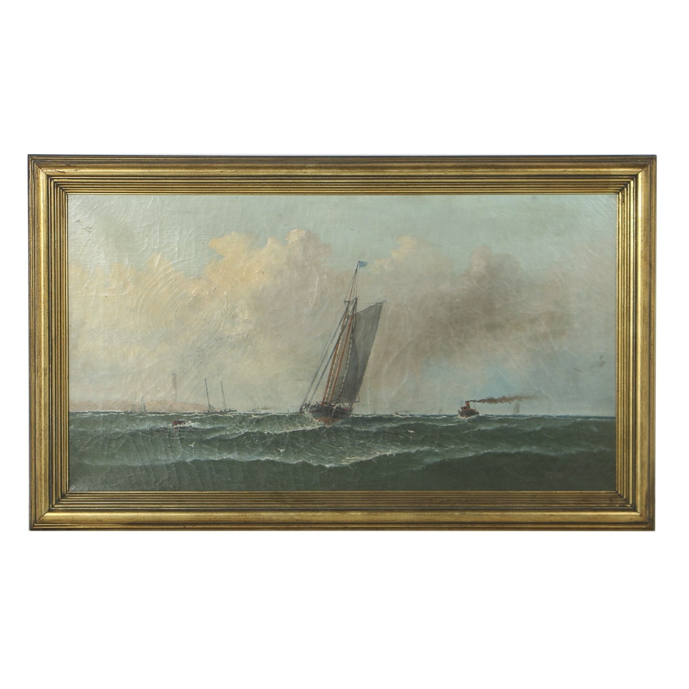Charles Dyer Shed Oil Painting on Canvas of Marine Scene