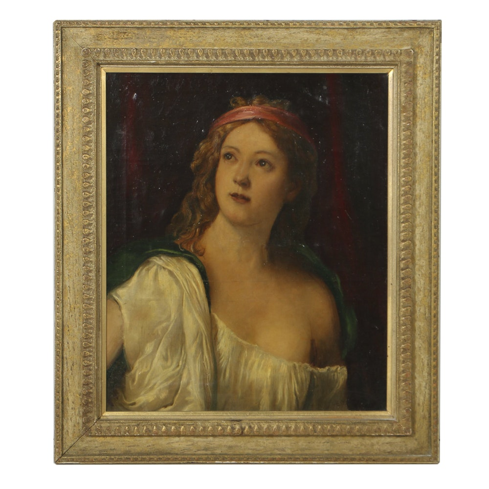 Oil Portrait on Canvas of Classical Female Figure