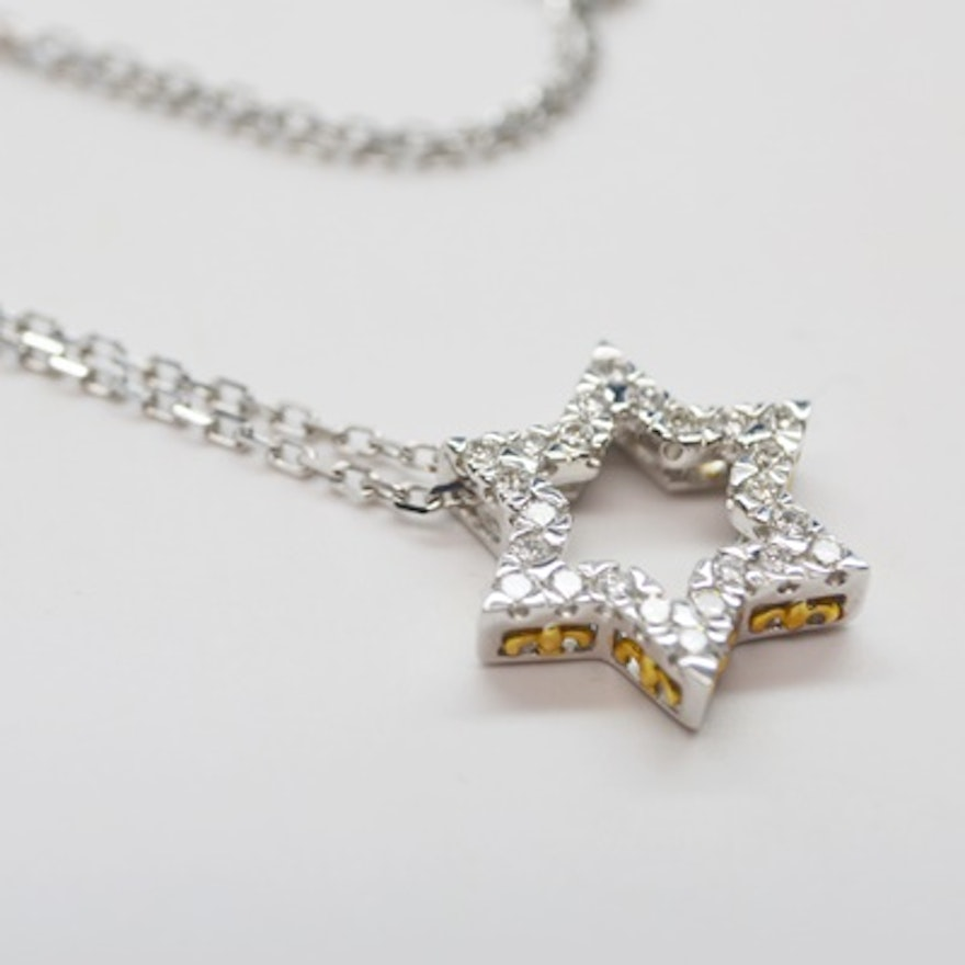 18k white gold diamond star pendant necklace ebth 18k white gold diamond star pendant necklace aloadofball