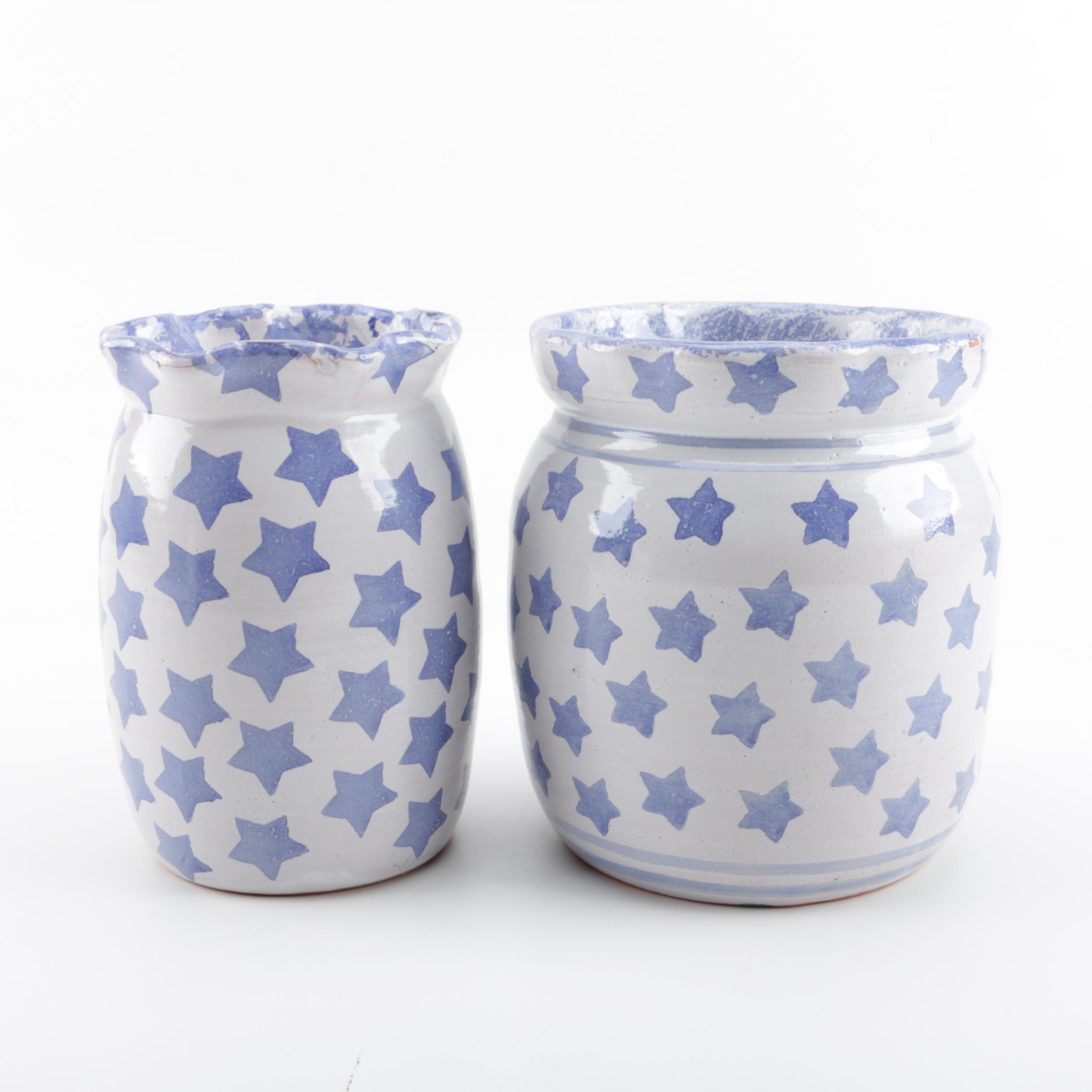 Hand Thrown Earthenware Star Canisters