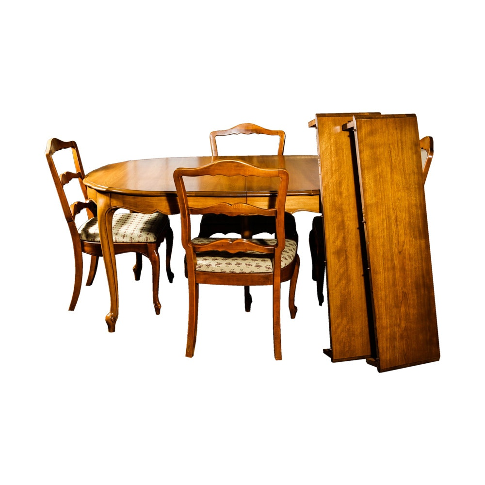 French Provincial Style Walnut Dining Table and Chairs