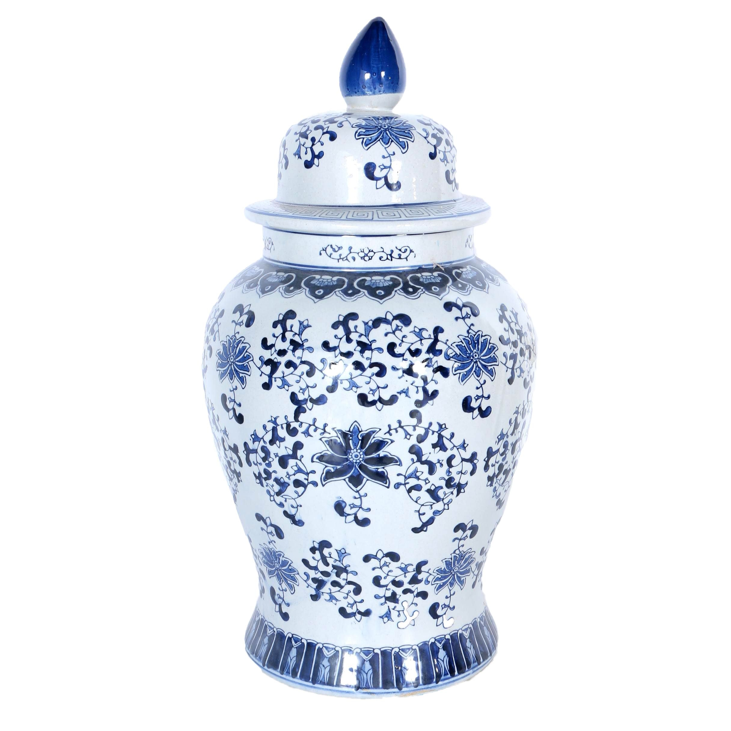 Asian Style Blue and White Ginger Jar