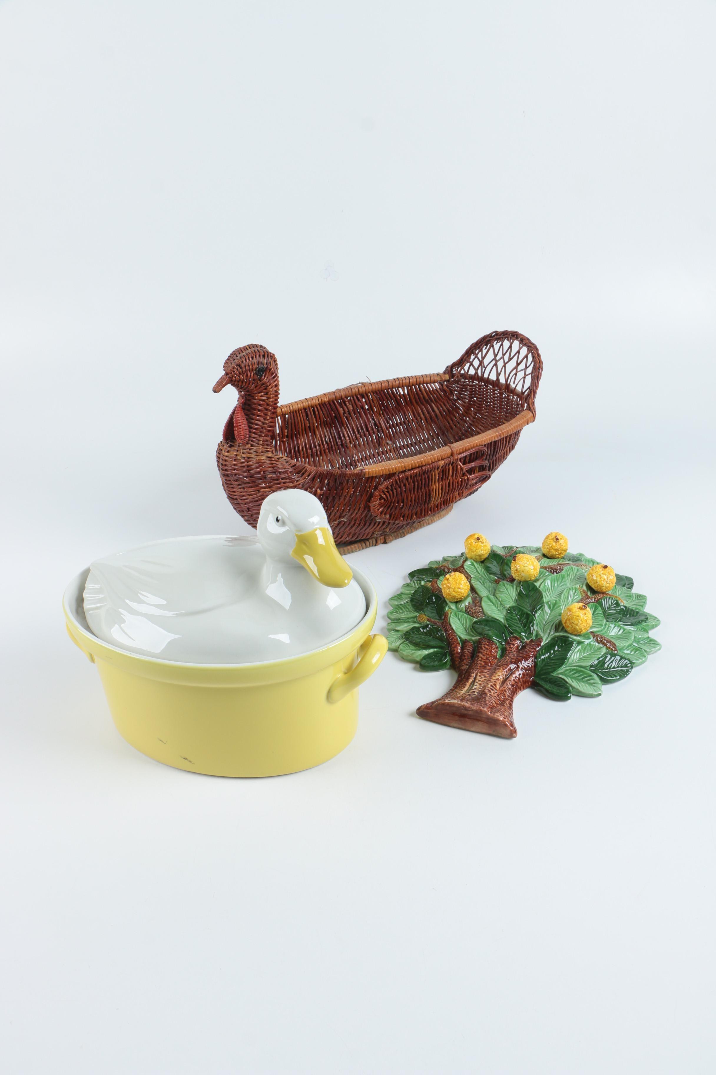 Duck Tureen, Turkey Basket, and Italian Ceramic Wall Decor