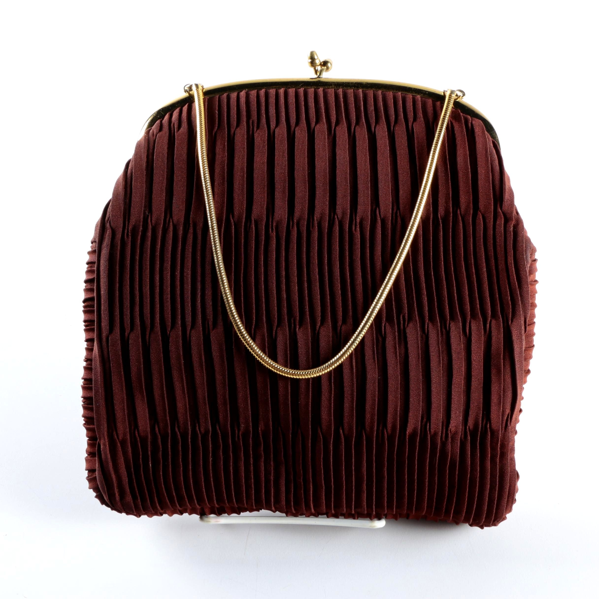Vintage Pleated Fabric Handbag by Ingber