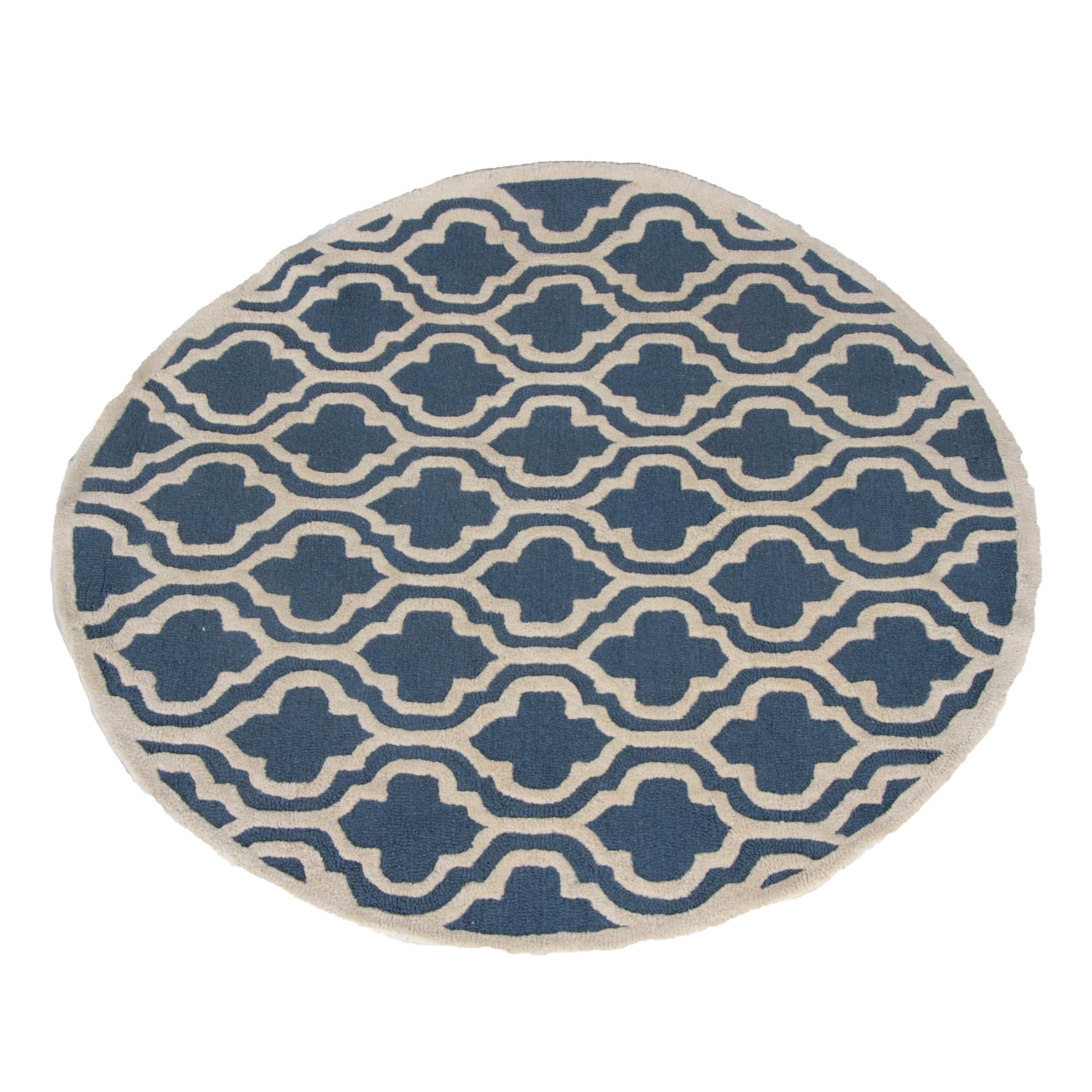 Hand Hooked Quatrefoil Round Wool Area Rug