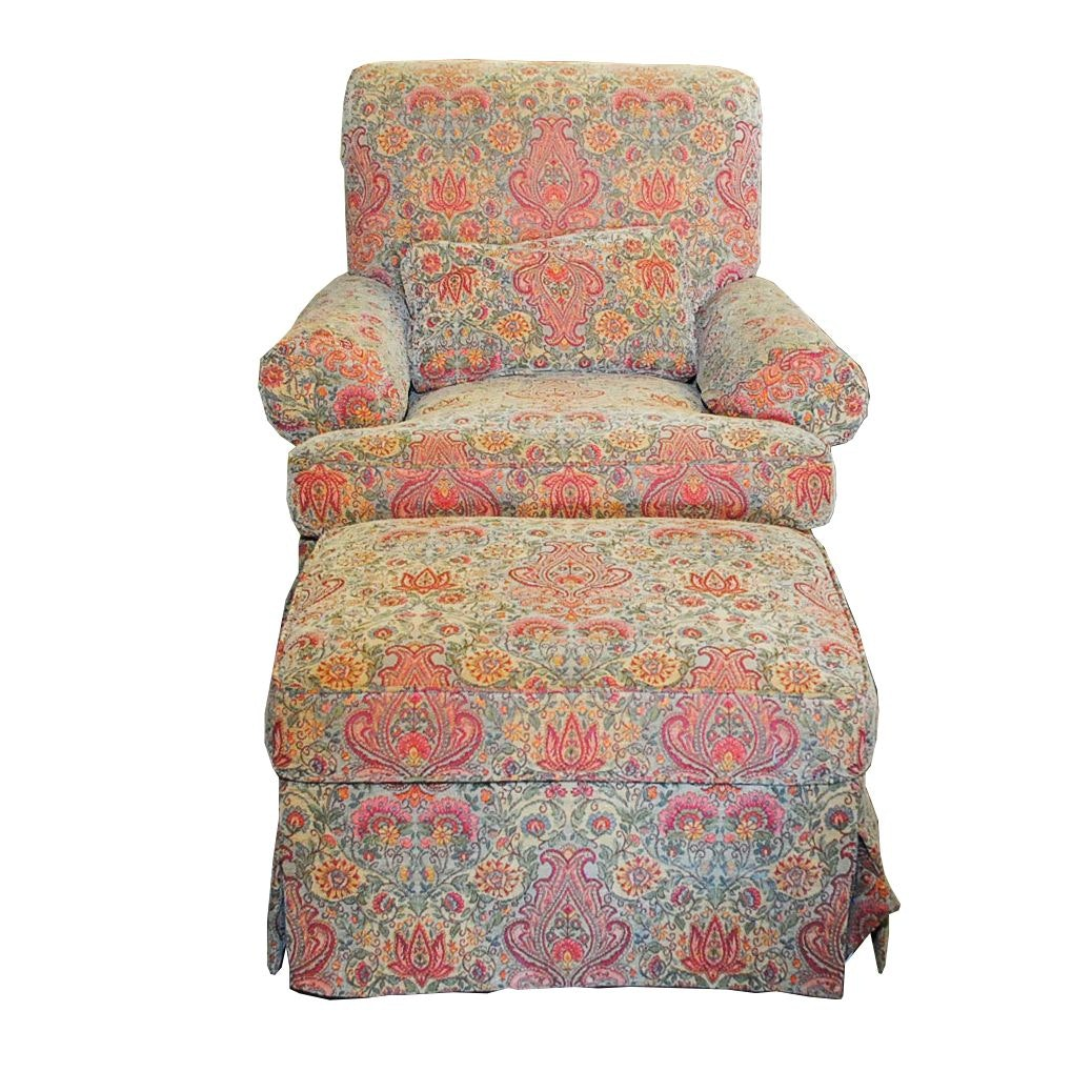 Upholstered Armchair and Ottoman from Calico Corners