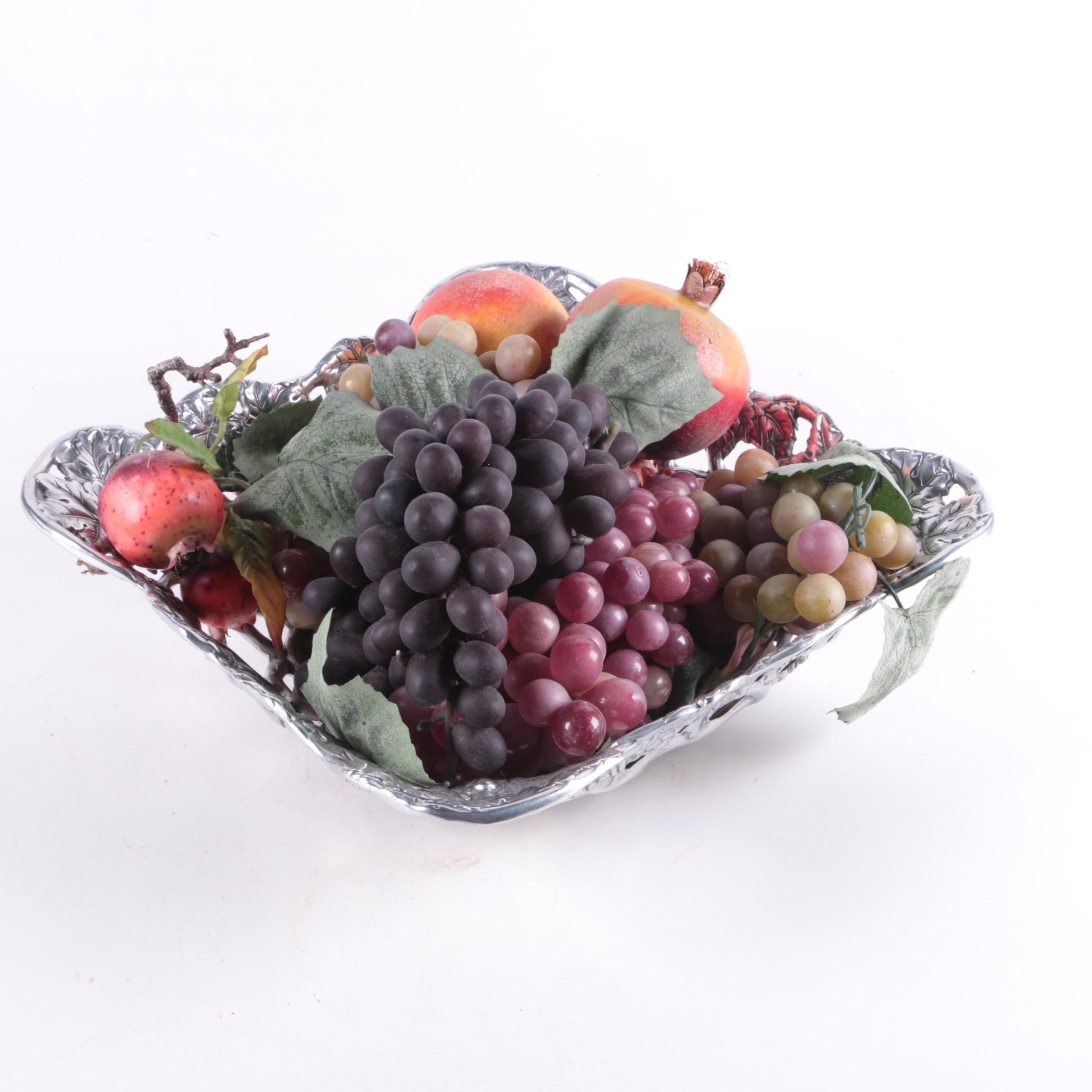 """Arthur Court """"Grape"""" Bowl with Decorative Artificial Fruit"""