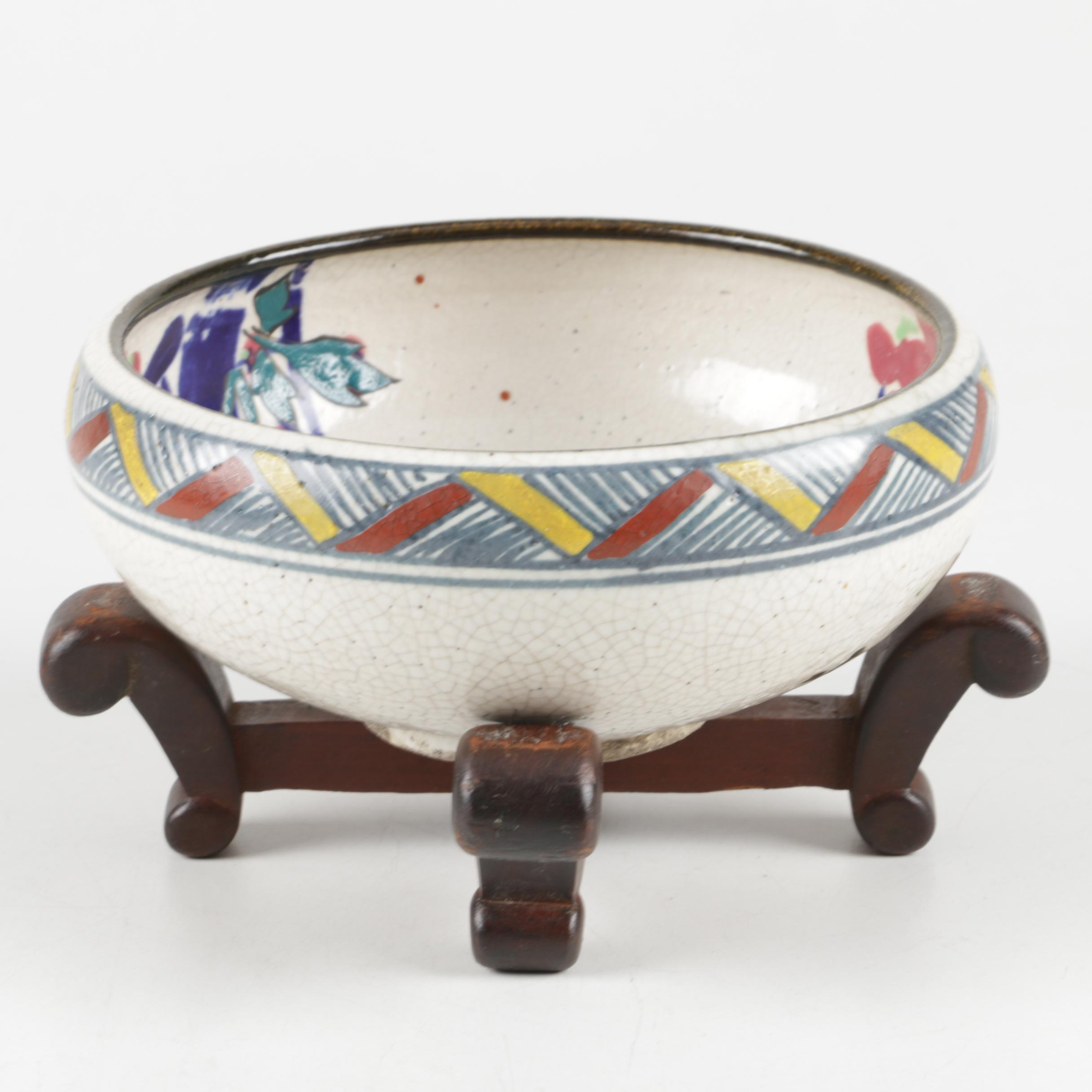 Japanese Hand-Painted Crackle Glaze Bowl With Wooden Stand