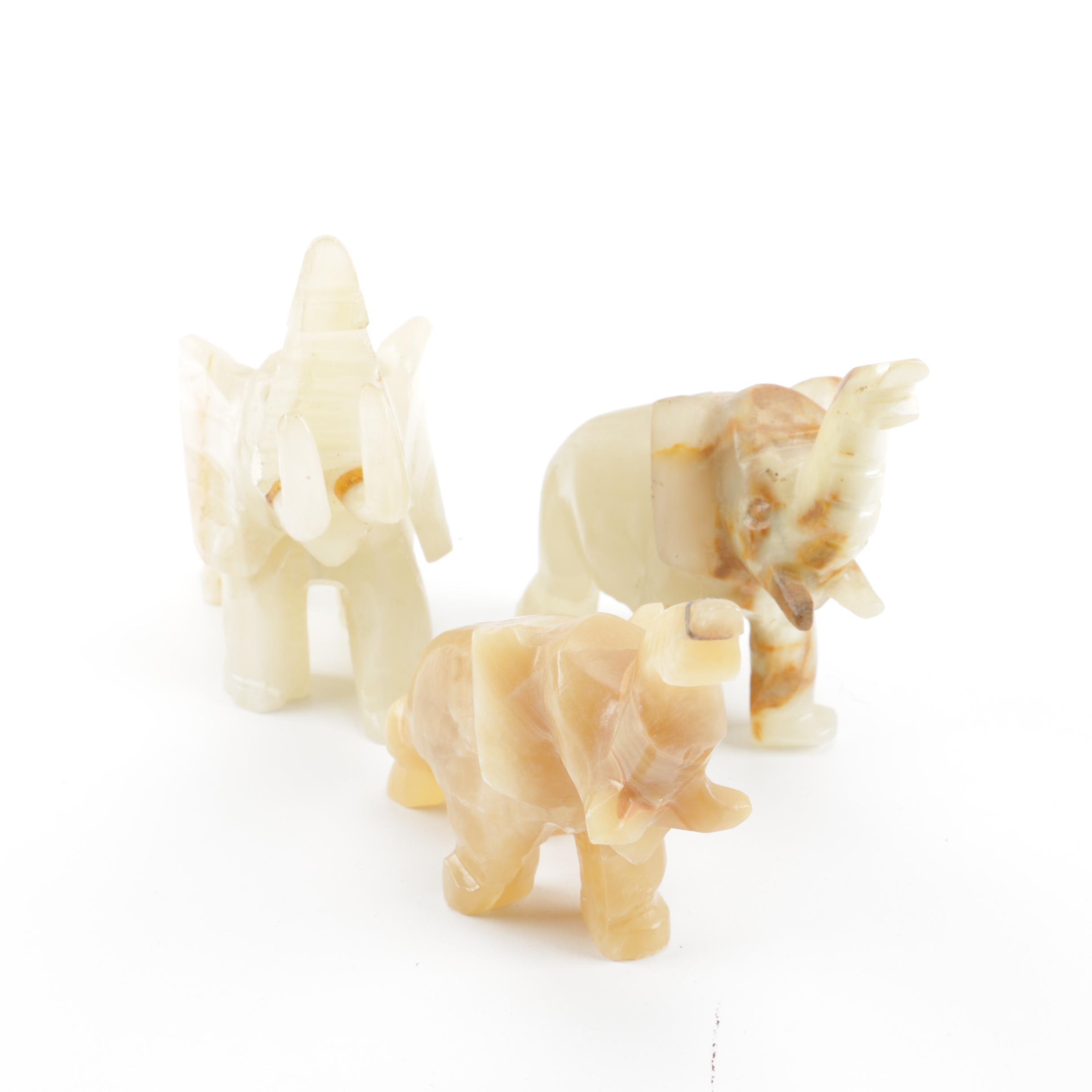 Agate Elephant Figurines