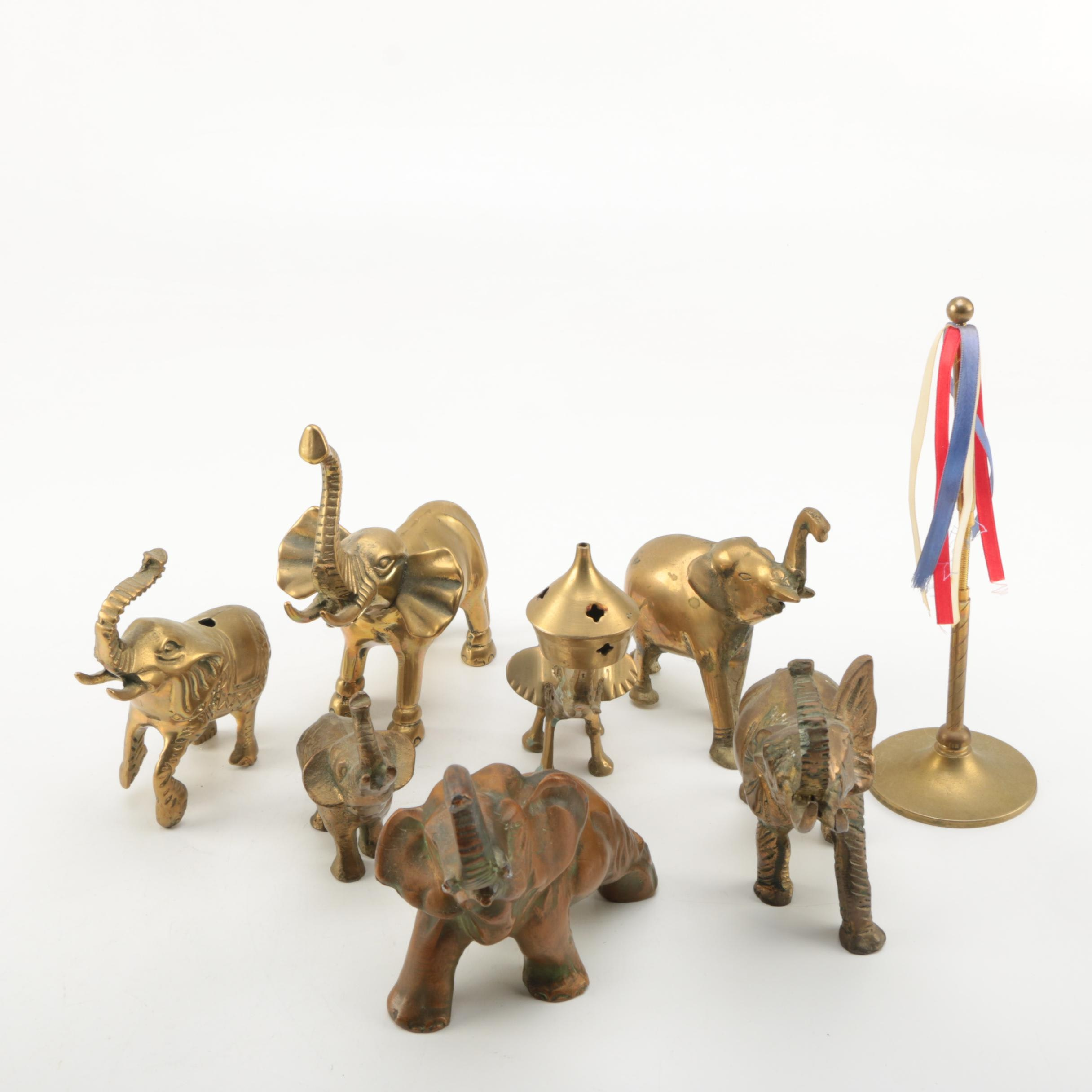 Brass Elephant Figurines and Maypole