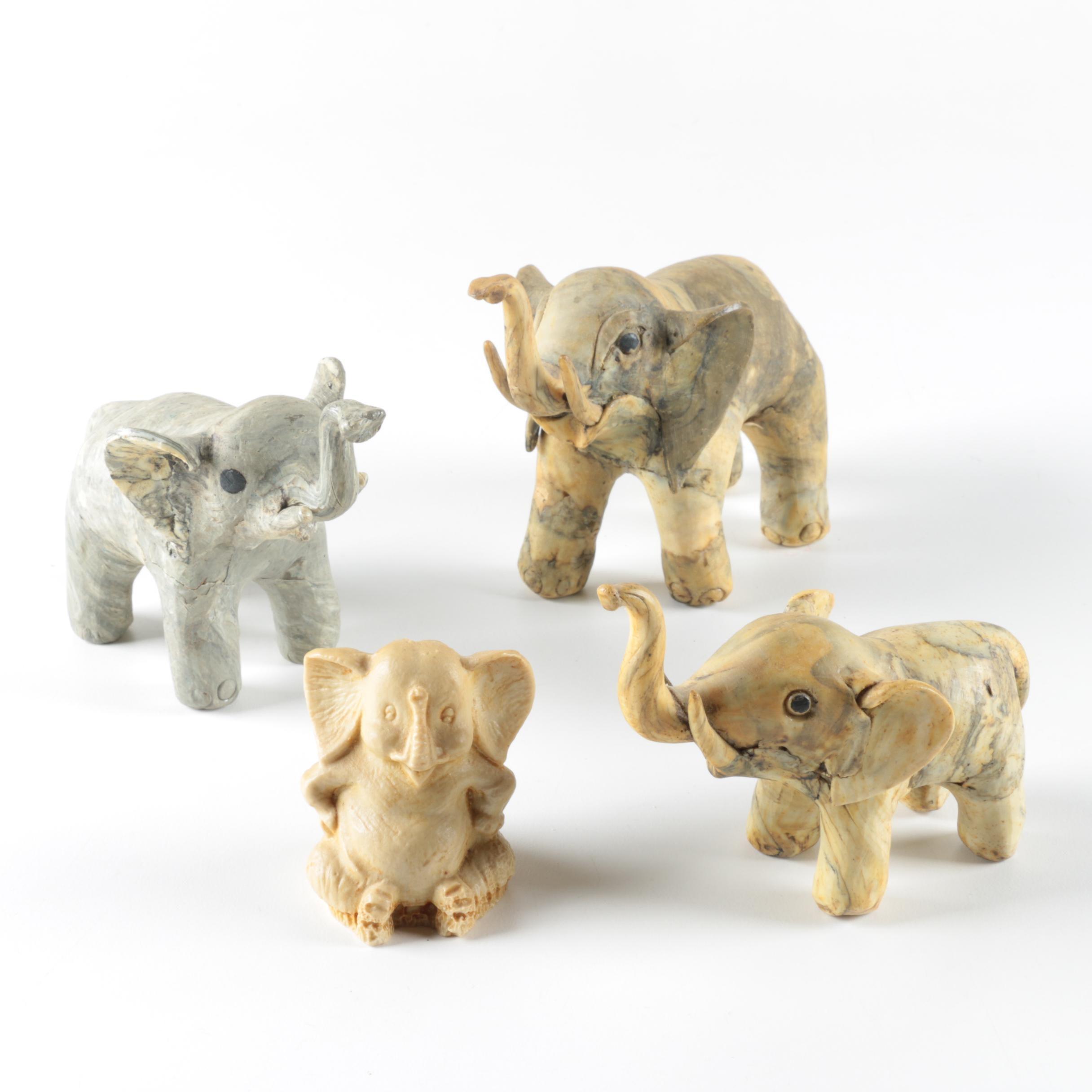Wooden Elephant Figurines