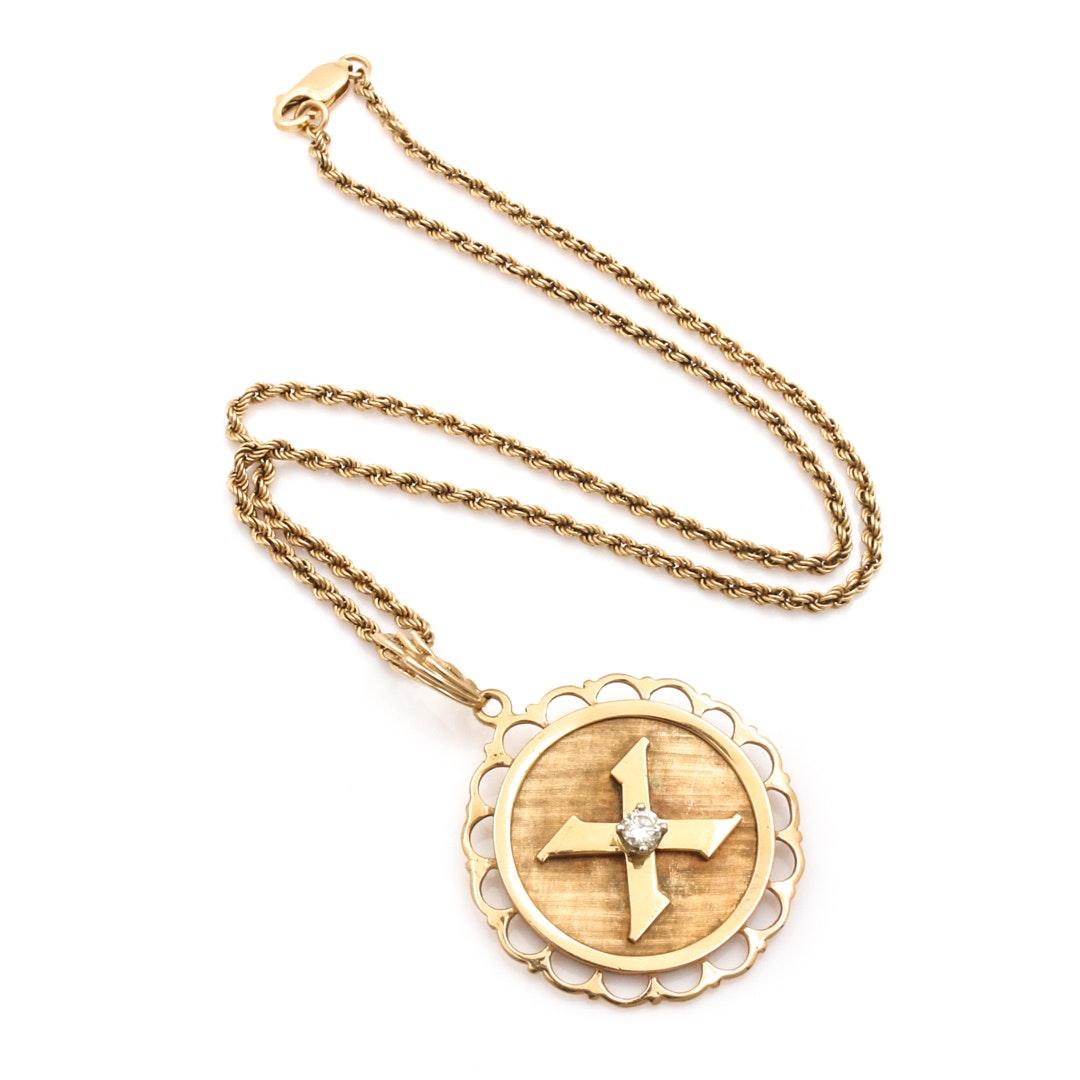14K Yellow Gold Diamond Personalized Pendant Necklace