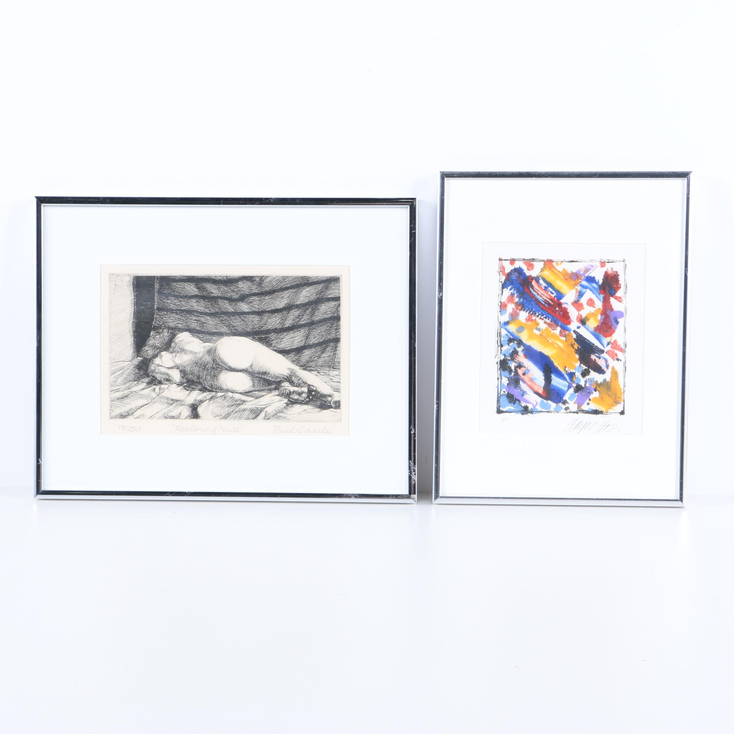"""Paul Casale Limited Edition Etching """"Reclining Nude"""" and Abstract Monotype"""