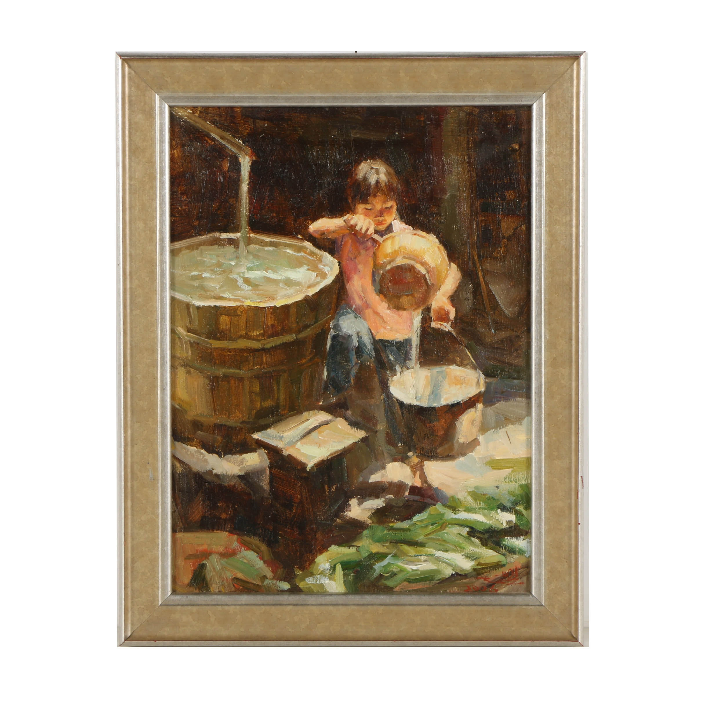 Oil Painting on Canvas  of a Girl with Water Bucket