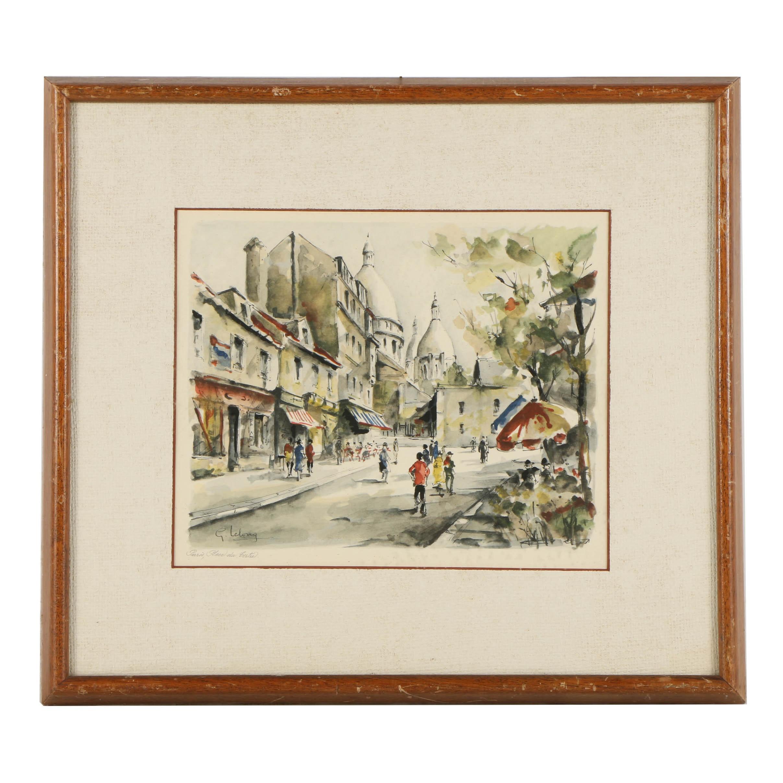 """Lithograph on Paper After G. Lelong """"Paris, Place du Tertre"""""""