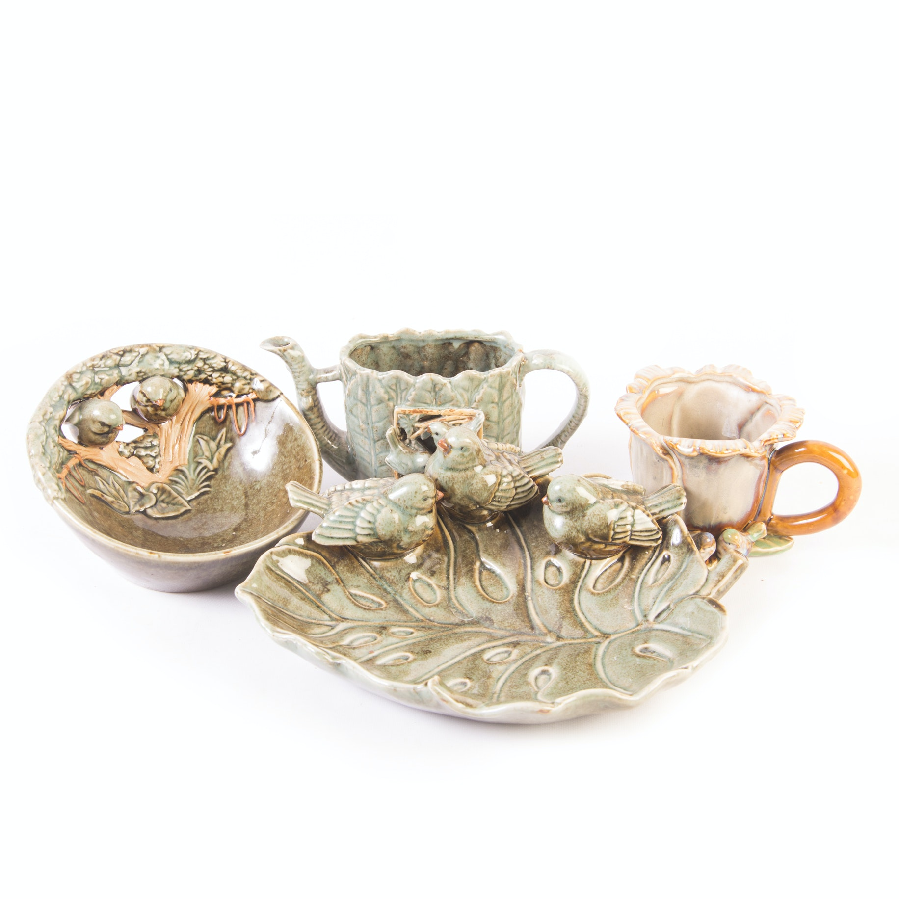 Decorative Garden Inspired Pottery Grouping