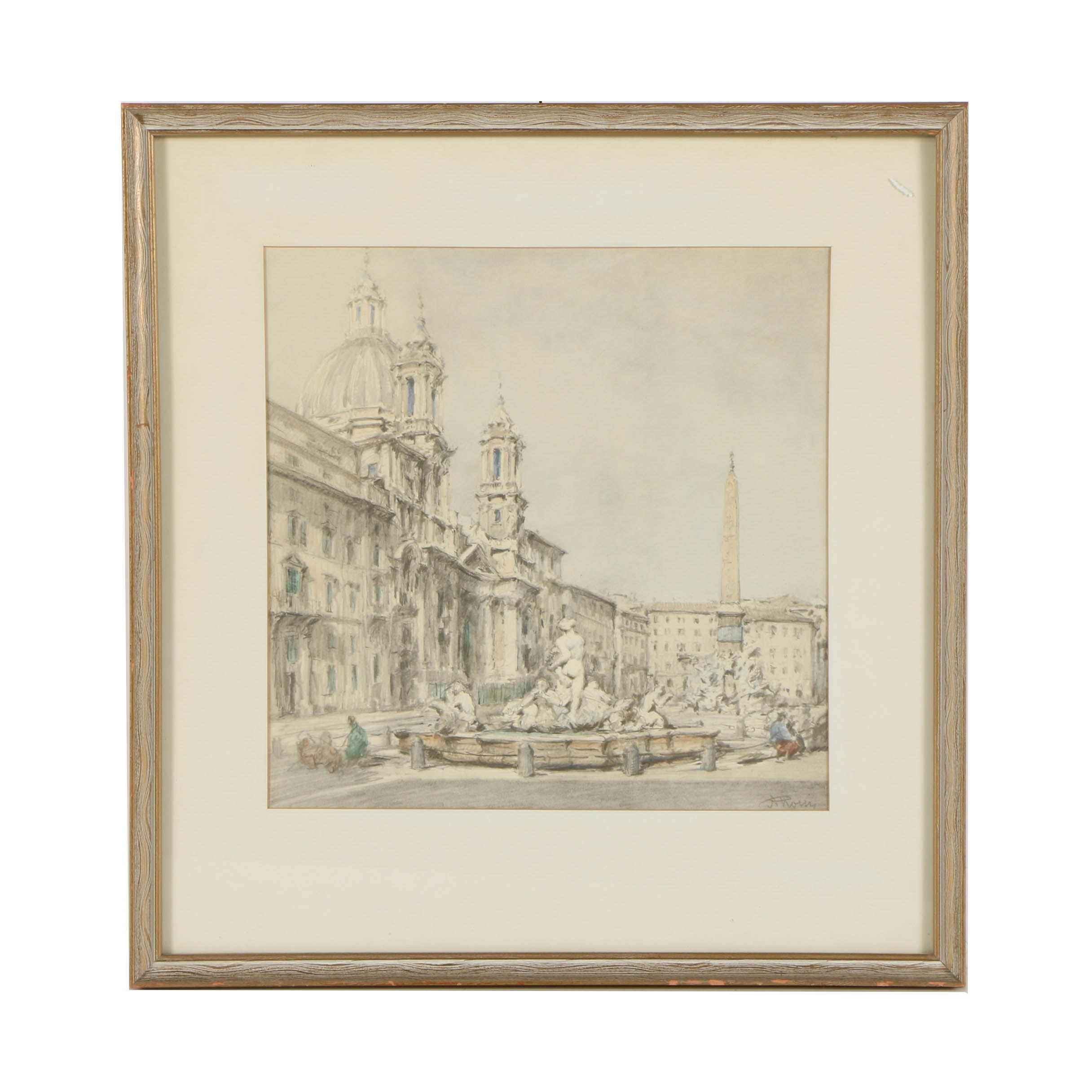 A. Rossi Offset Lithograph Print on Paper of European Plaza Street Scene
