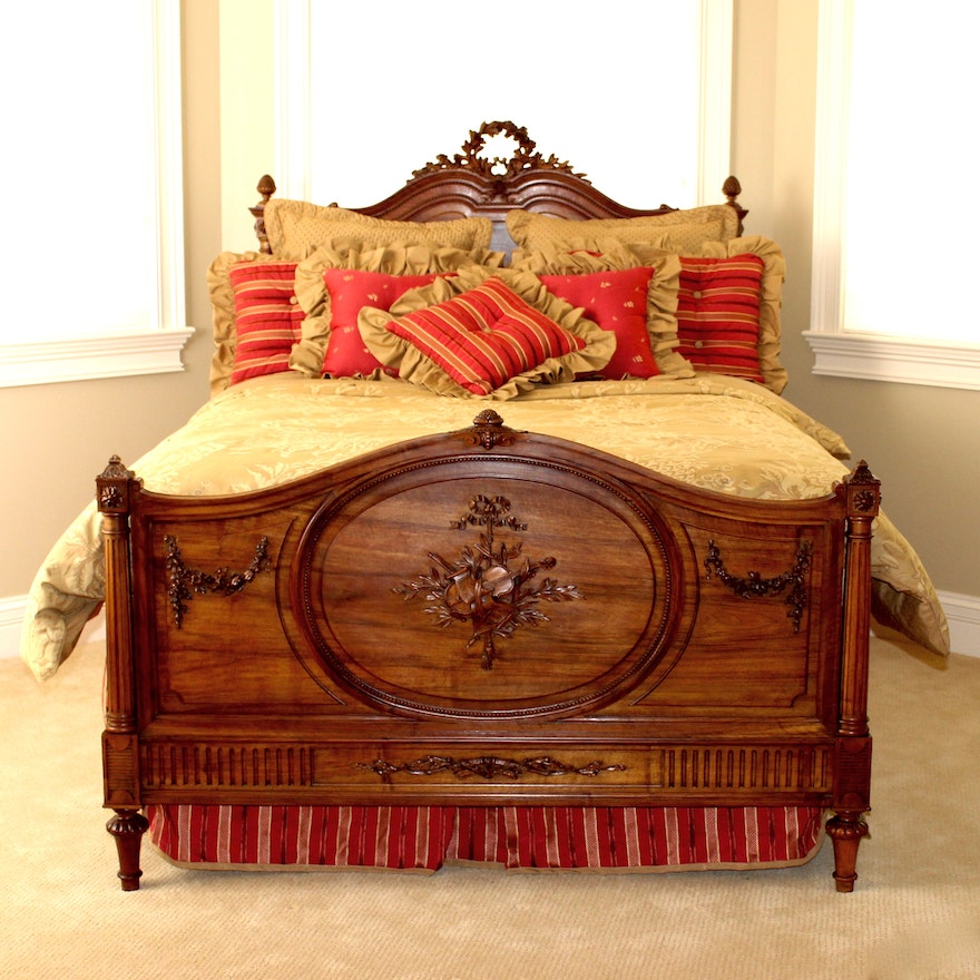 antique french louis xvi style bed frame with queen size mattress set ebth. Black Bedroom Furniture Sets. Home Design Ideas