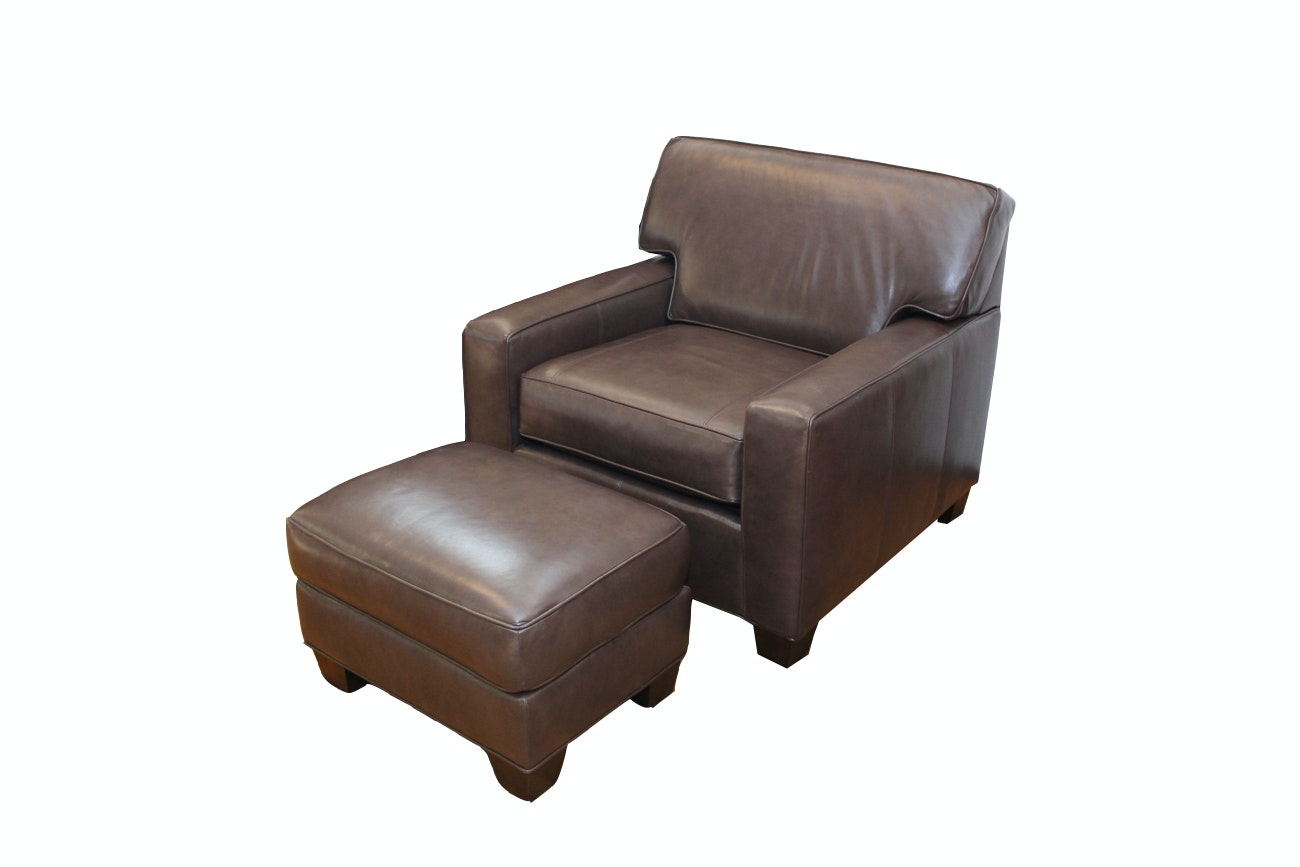 Norwalk Furniture Leather Armchair And Ottoman ...