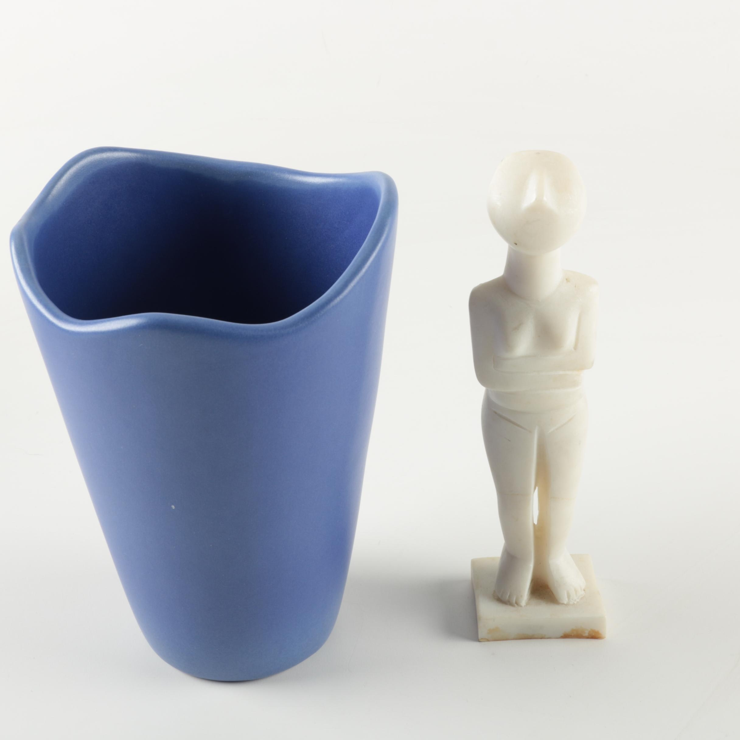 Blue Ceramic Flower Pot and Replica from Antiquity